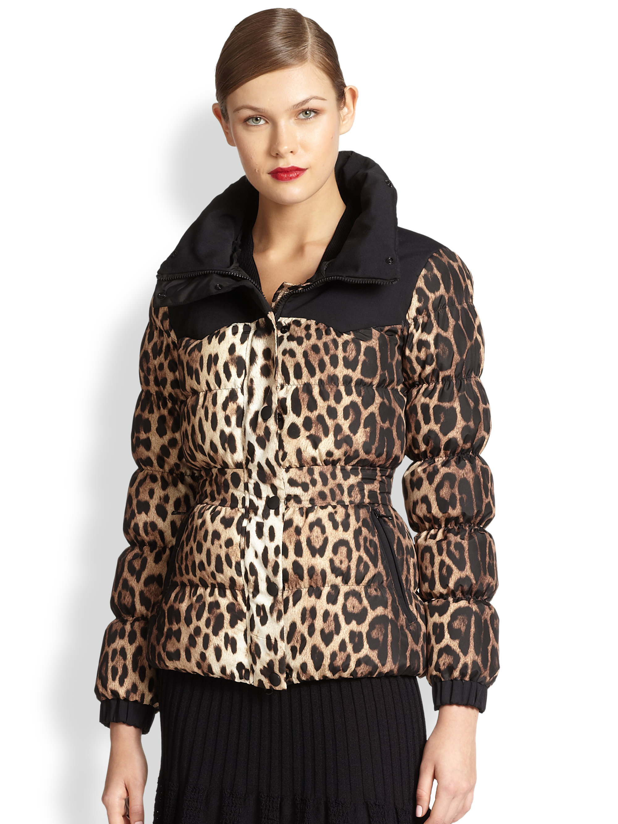 Boutique moschino Fur-Trimmed Leopard Bomber Jacket | Lyst