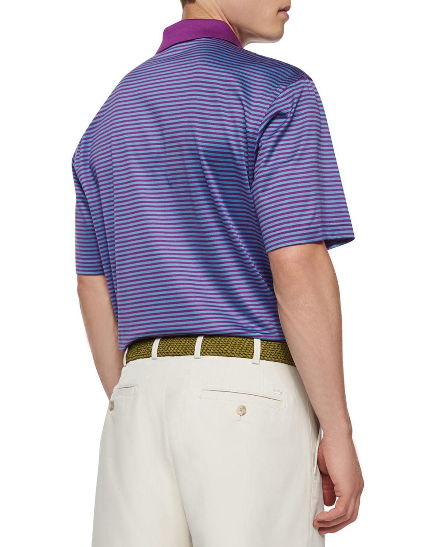 Peter millar classic striped lisle knit polo shirt in for Peter millar polo shirts