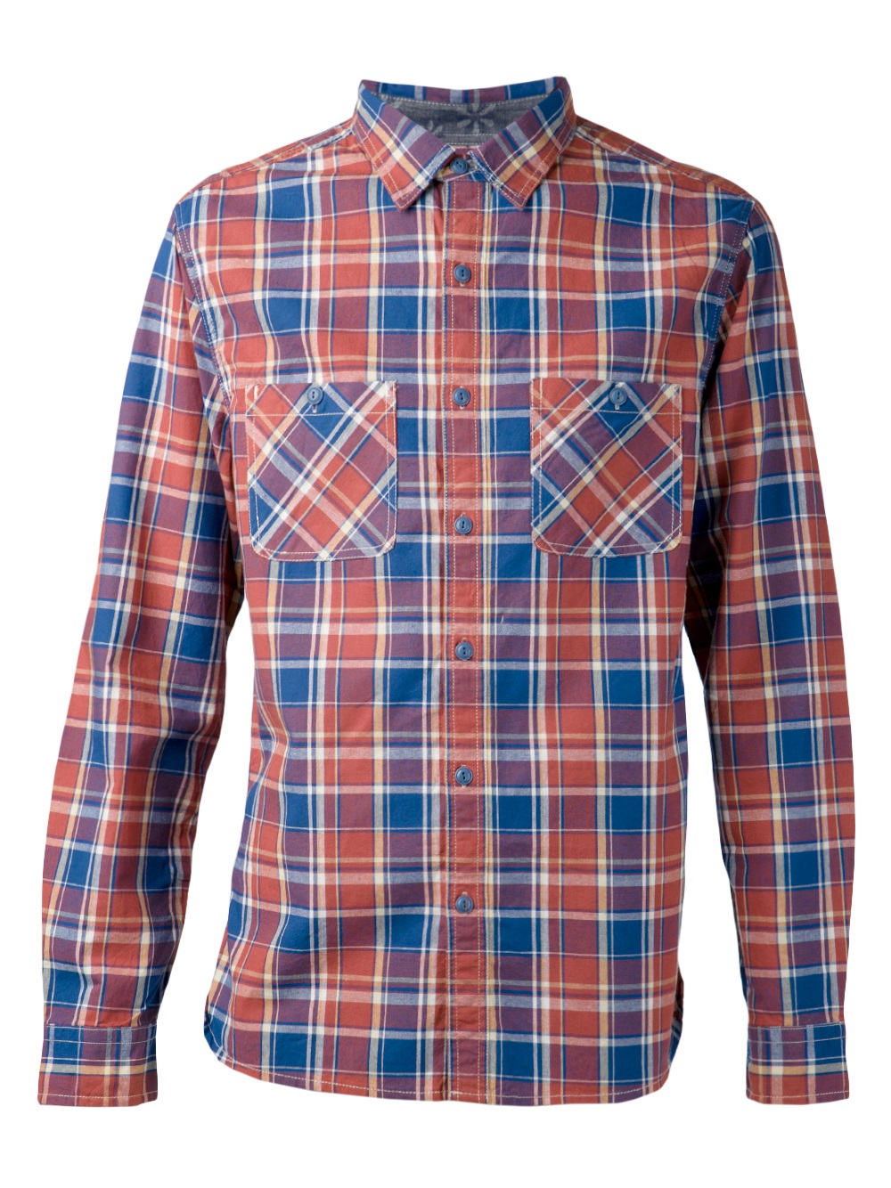 Alex mill 39 chore 39 plaid shirt in blue for men lyst for Blue and yellow plaid dress shirt