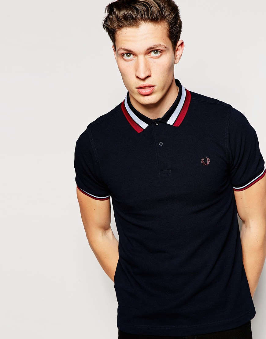 fred perry polo shirt with bold tipping slim fit in blue. Black Bedroom Furniture Sets. Home Design Ideas