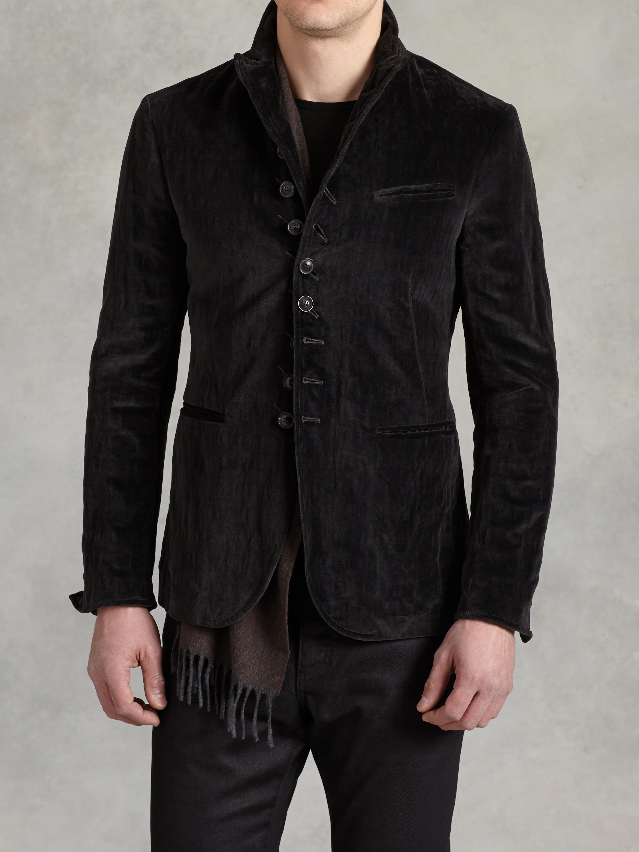 John Varvatos Velvet Multi Button Jacket In Black For Men