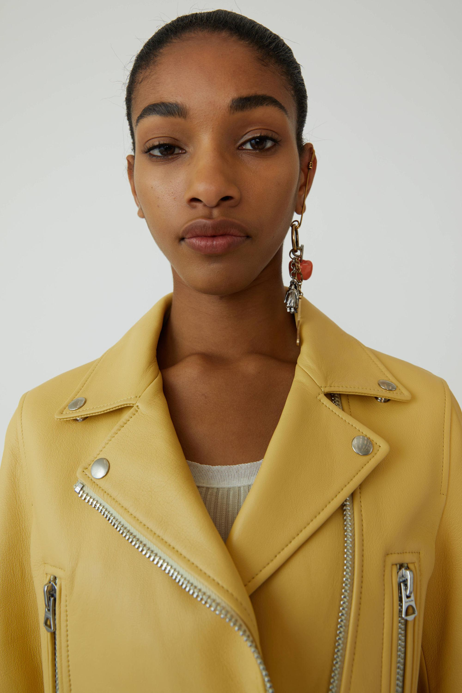 01ac5277d Women's Mock Vanilla Yellow Motorcycle Jacket