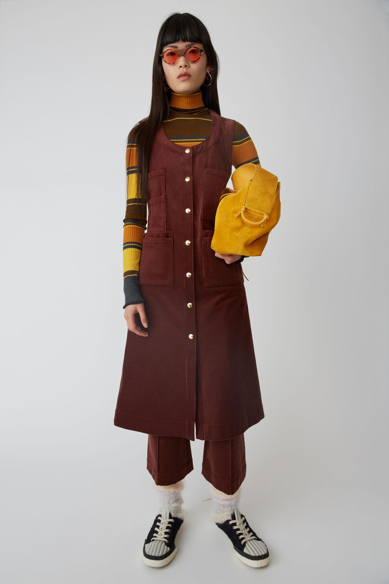 Acne Studios Fn Wn Dres000028 Rosewood Red Corduroy Dress