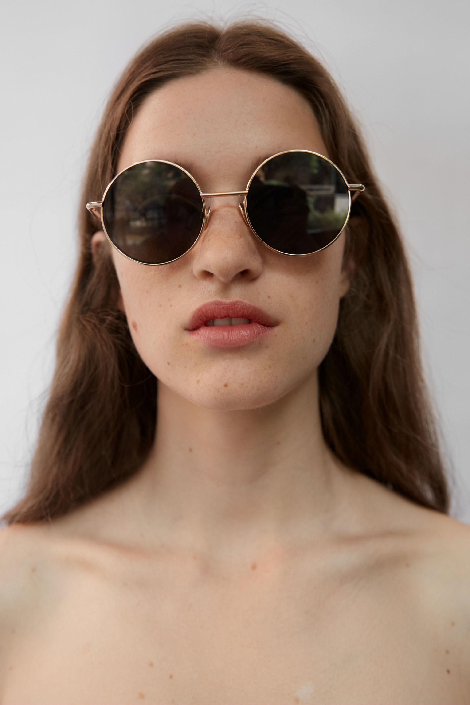 2ee38c6964 Lyst - Acne Studios Scientist Mix Gold black Round Sunglasses in Black