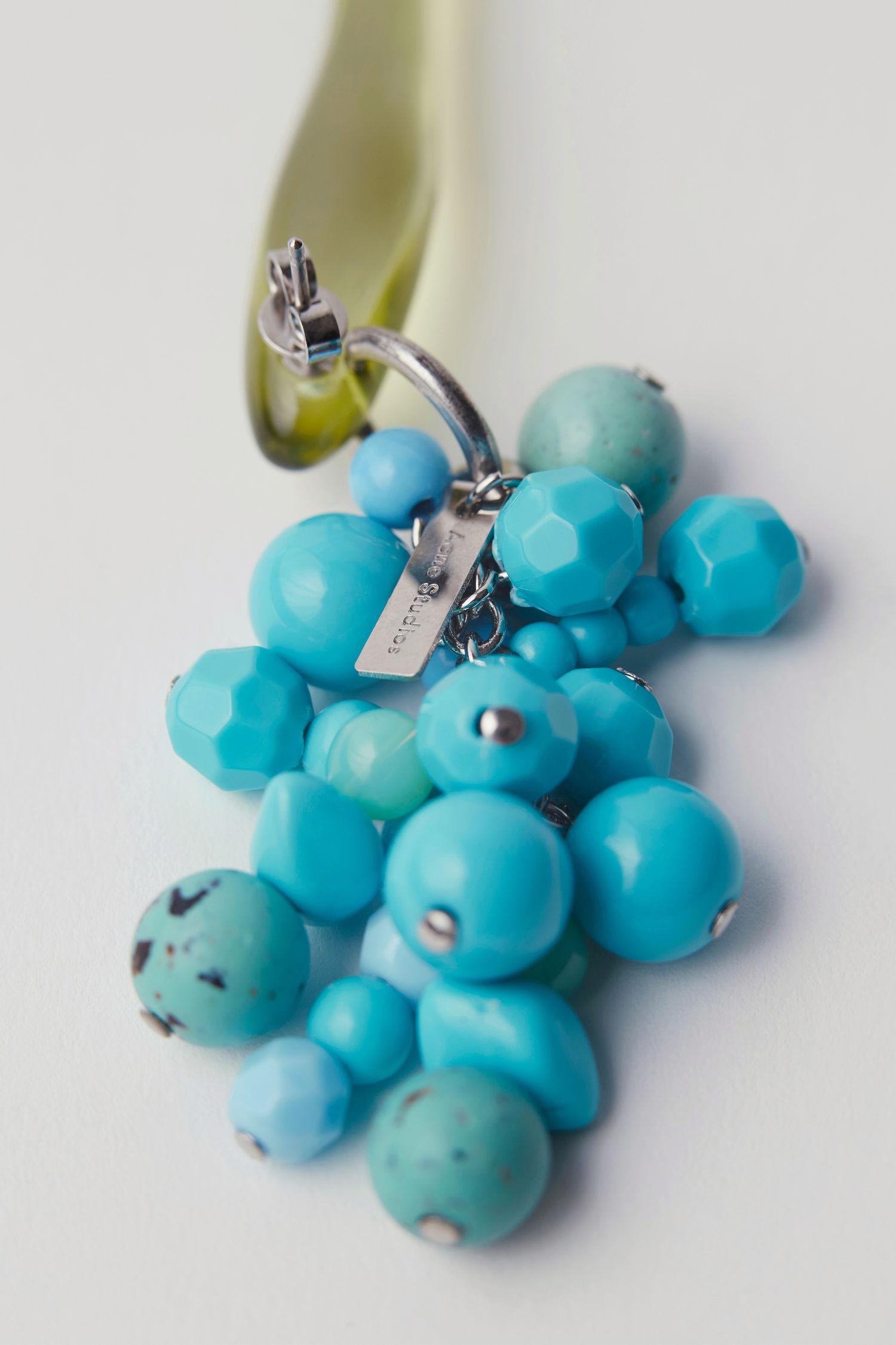 Acne Studios Synthetic Resin And Bead Earring acid Yellow/turquoise