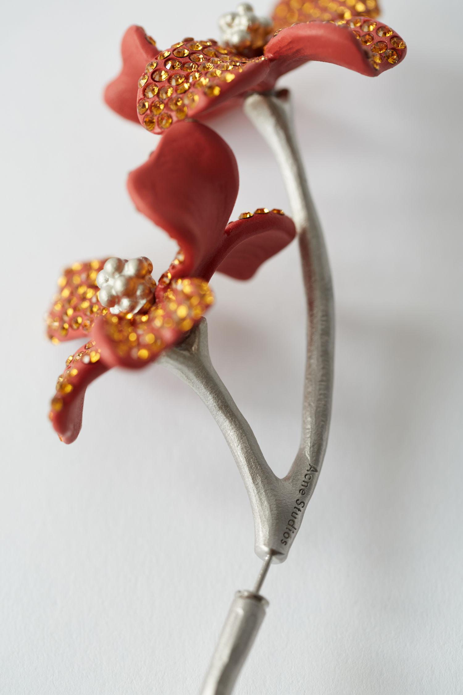 Acne Studios Synthetic Flower Earring red/orange