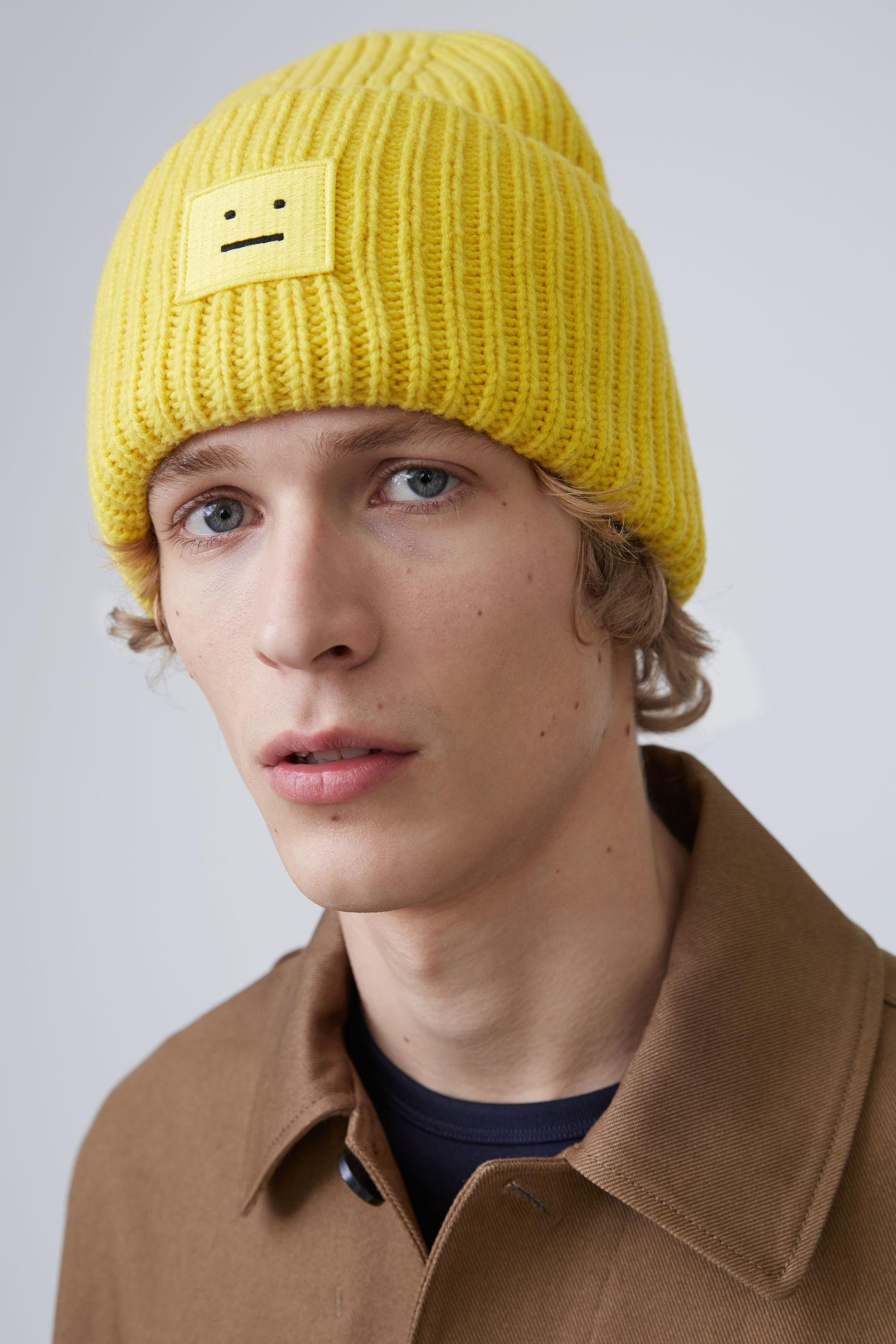 Lyst - Acne Studios Ribbed Beanie Hat canary Yellow in Yellow 8709589daad