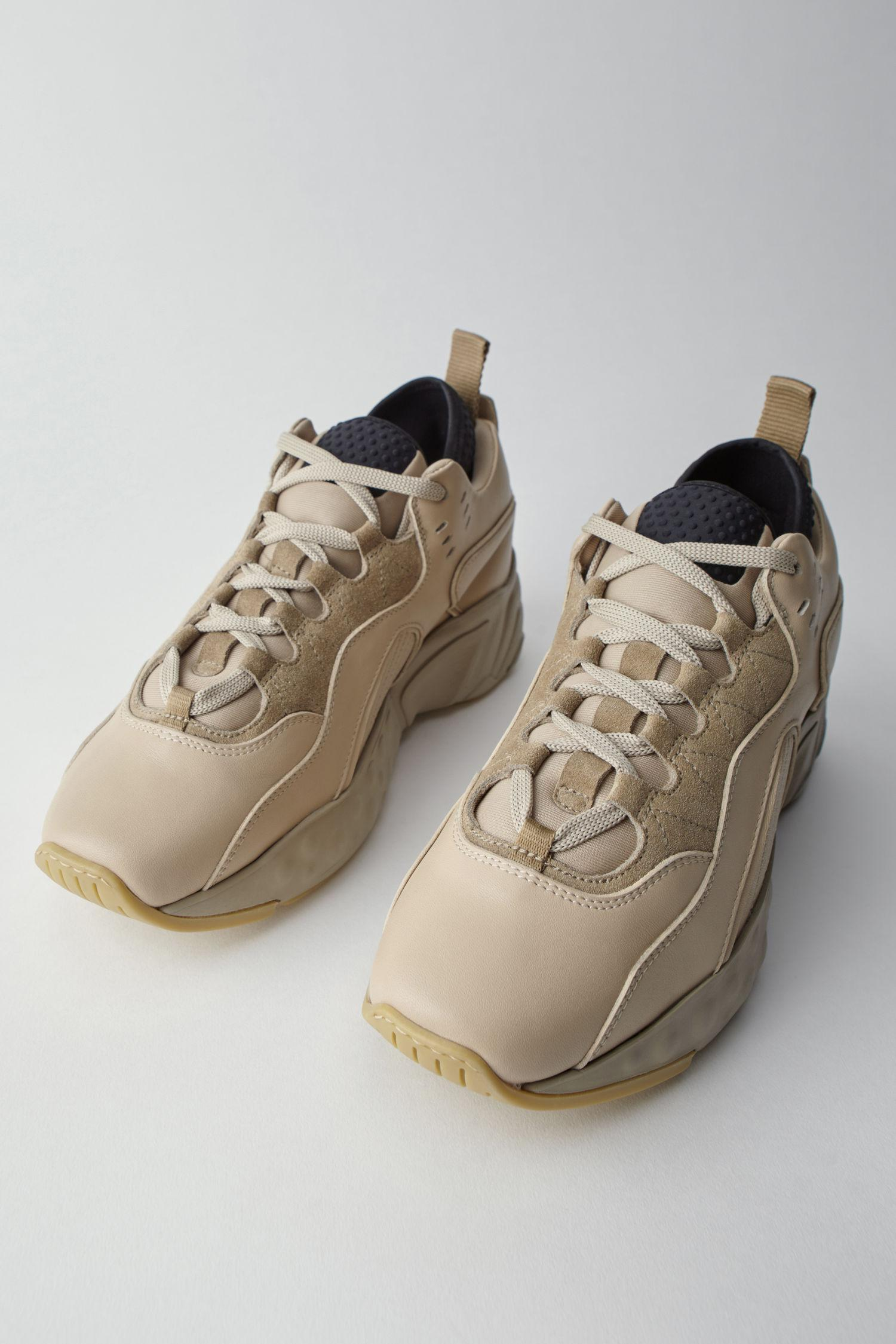 Leather Technical Sneakers multi Beige