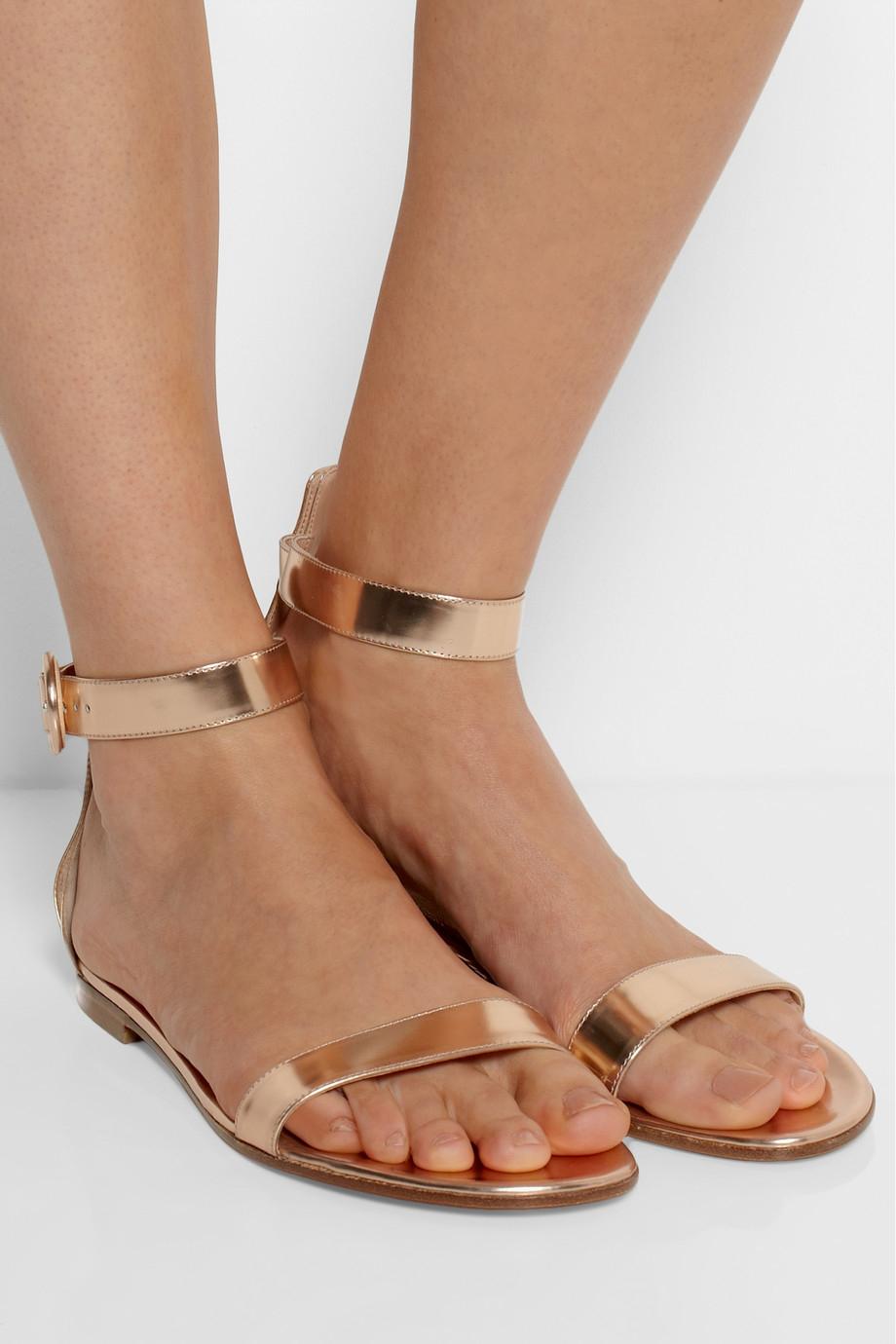 Gianvito Rossi Metallic Leather Sandals In Metallic Lyst