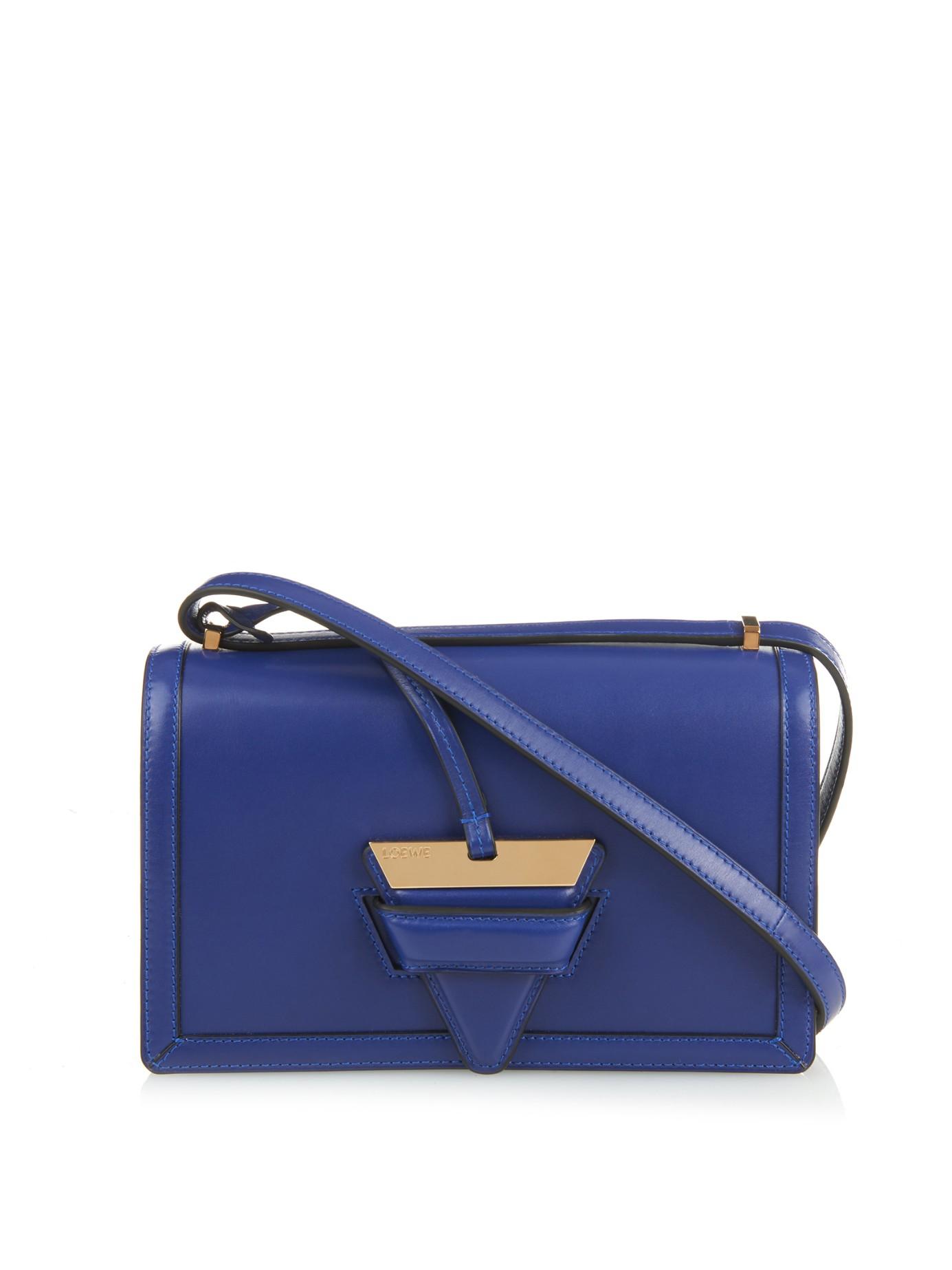 Lyst loewe barcelona leather shoulder bag in blue for Blue barcelona