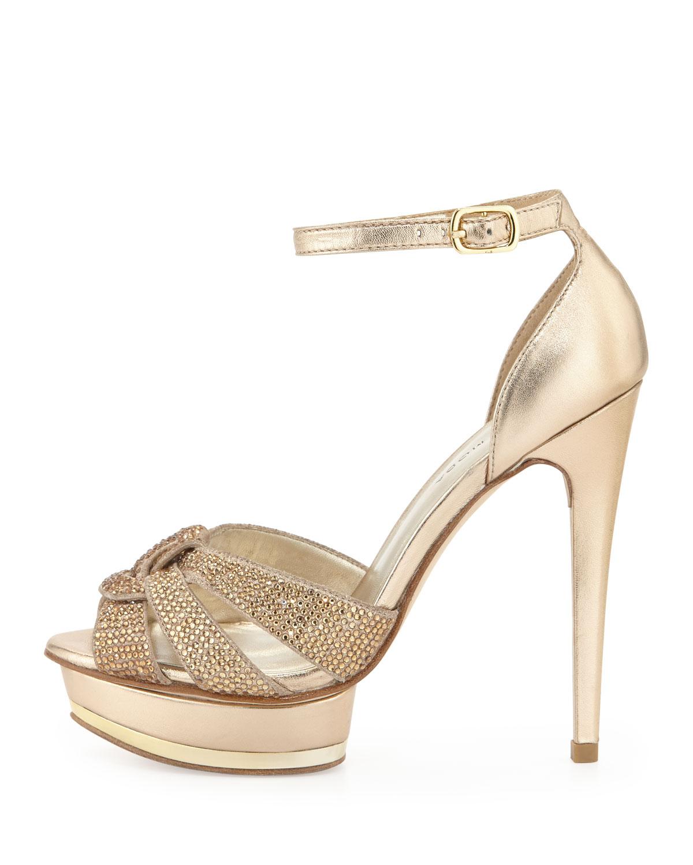d12bec8ae0f6 Lyst - Pelle Moda Ava Jeweled Metallic Leather and Suede Peep Toe ...
