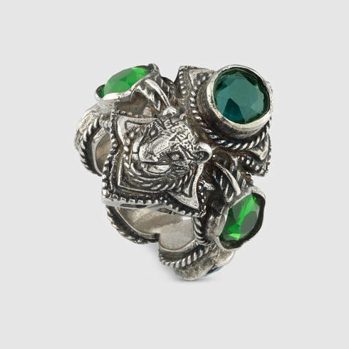 2a3c41e48 Gucci Feline Head Ring With Crystals in Green - Lyst
