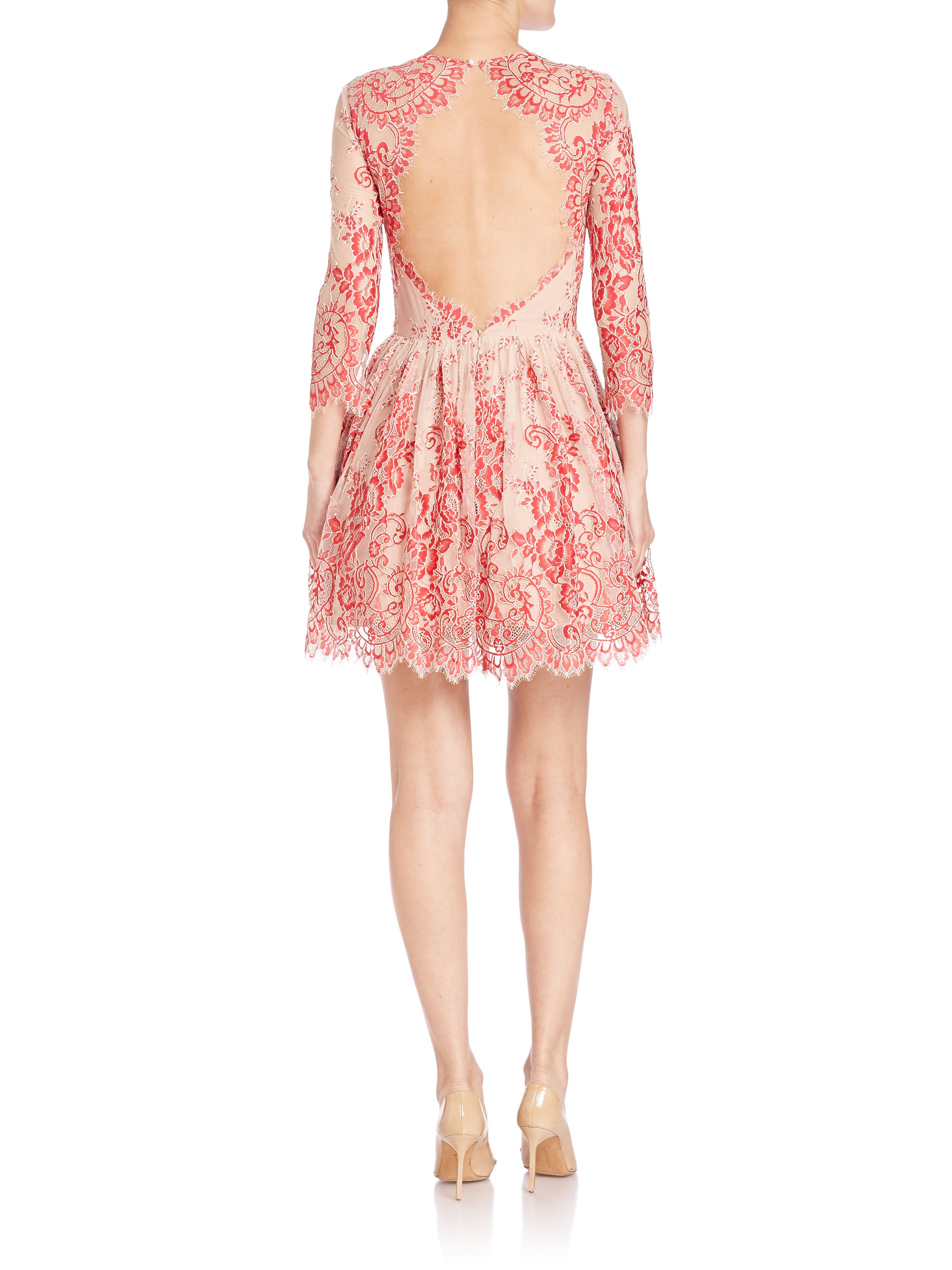 Alexis Bella Lace Fit Amp Flare Dress In Red Lace Red Lyst