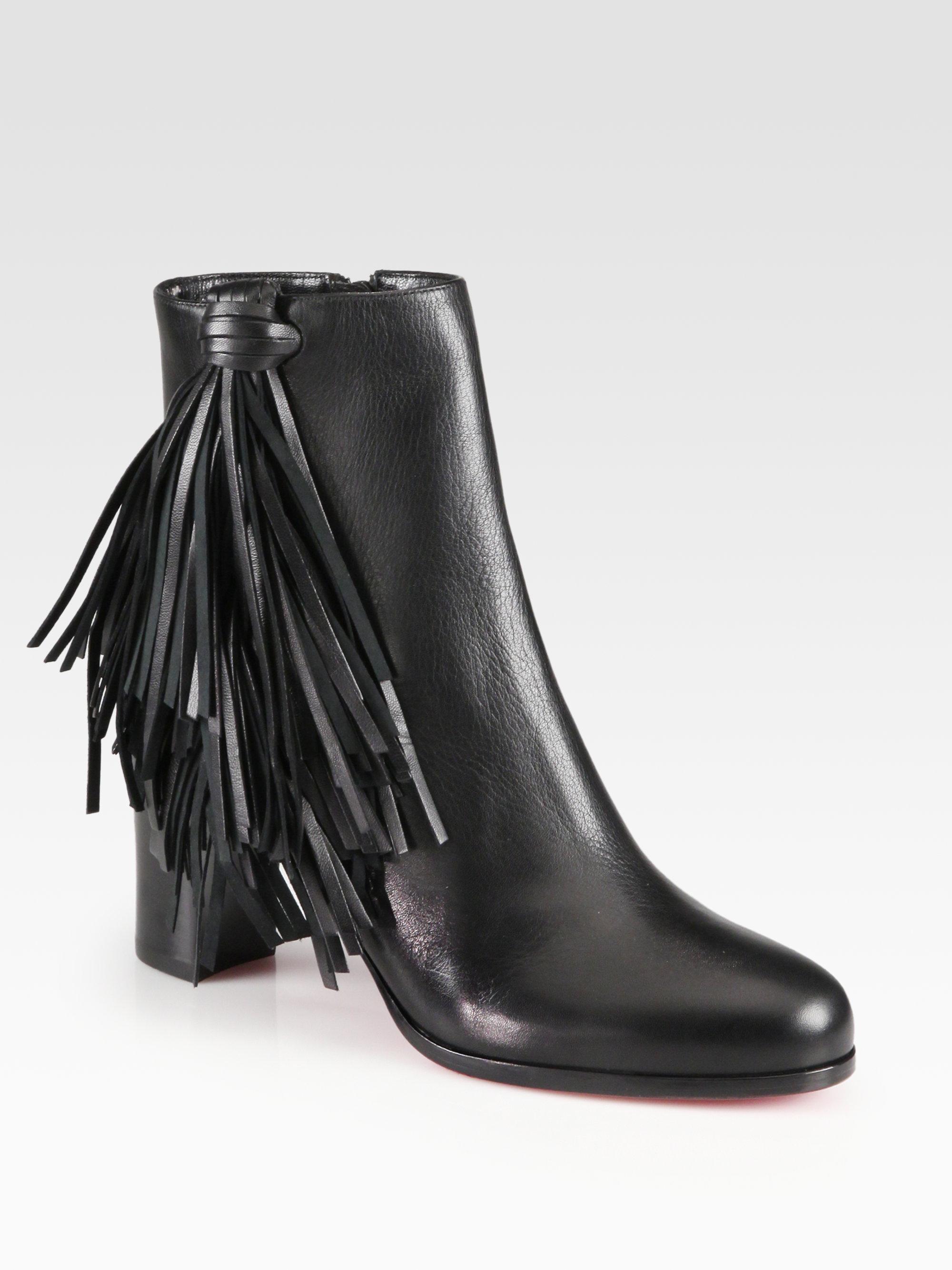 new style 403ba 34768 Christian Louboutin Black Jimmynetta Fringe Leather Ankle Boots