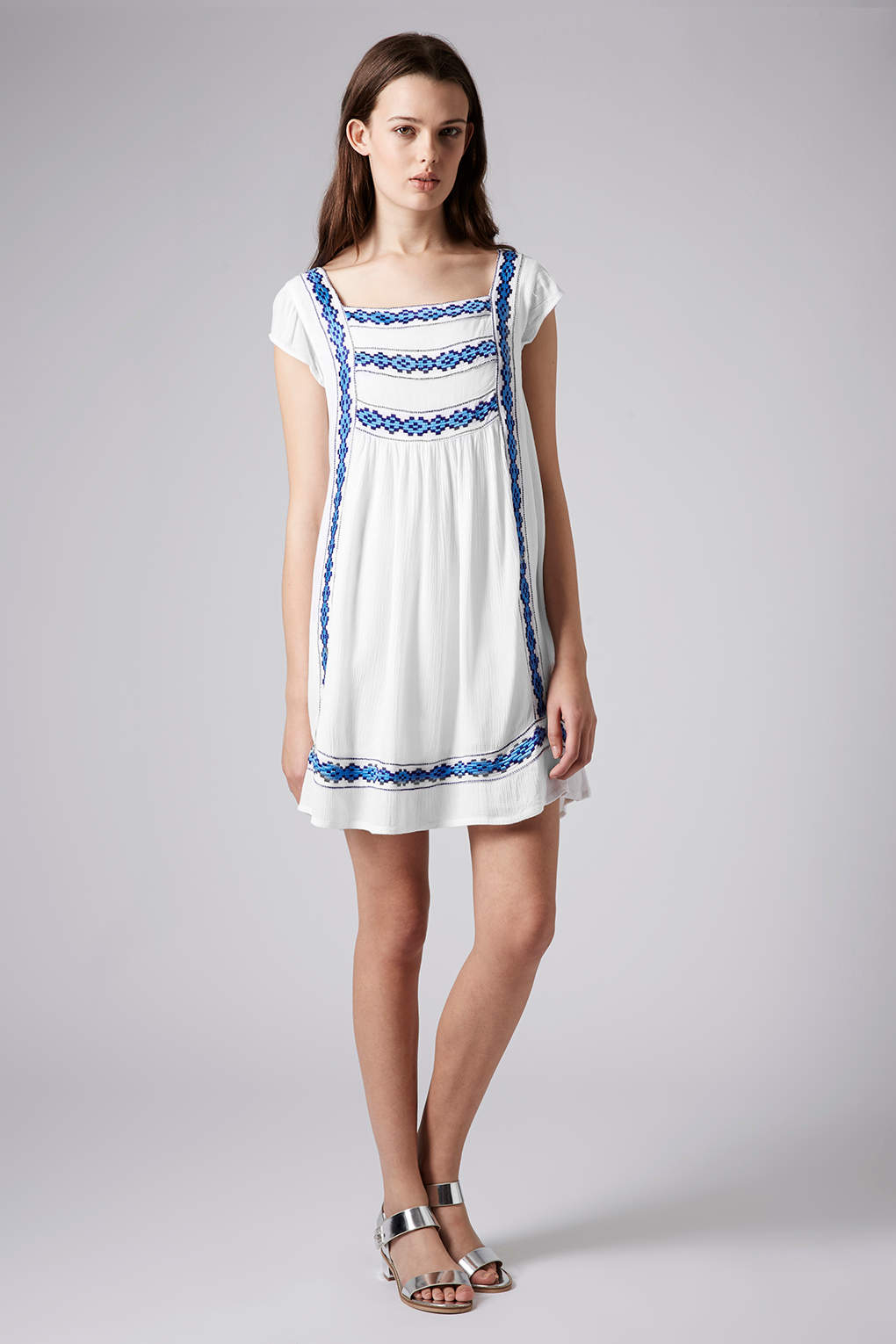 Topshop Womens Crinkle Embroidered Smock Dress White In