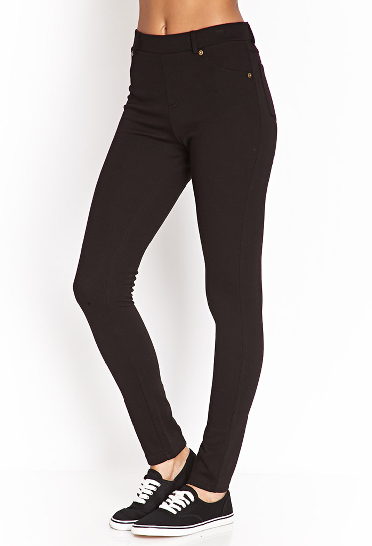 Forever 21 Stretch Knit Pants In Black Lyst