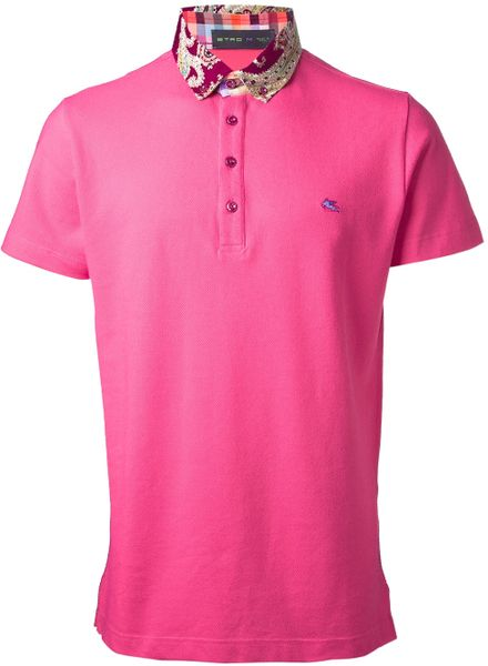 Etro Contrast Collar Polo Shirt In Pink For Men Pink