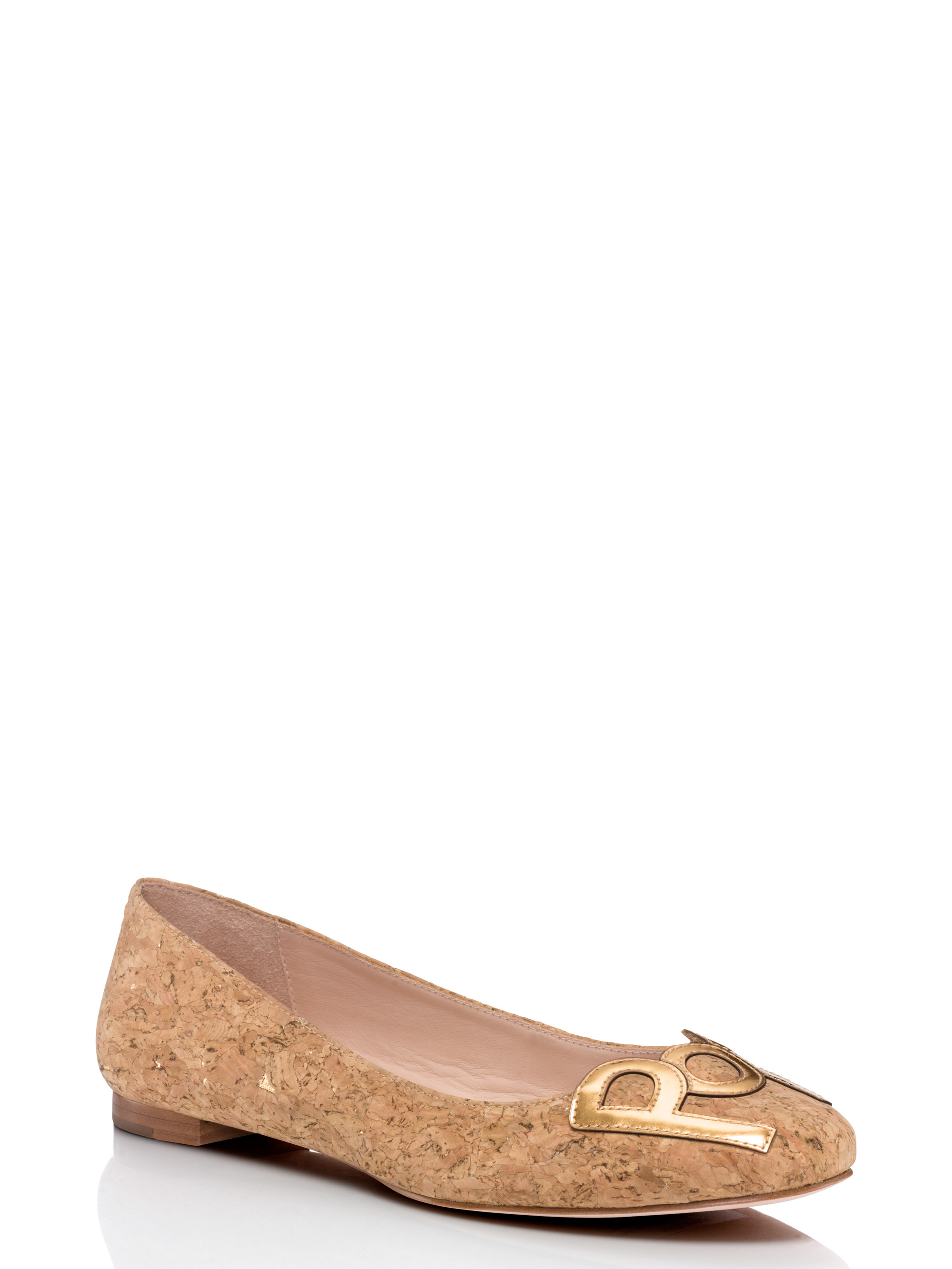 Kate spade new york toast flats in natural lyst for Kate spade new york flats