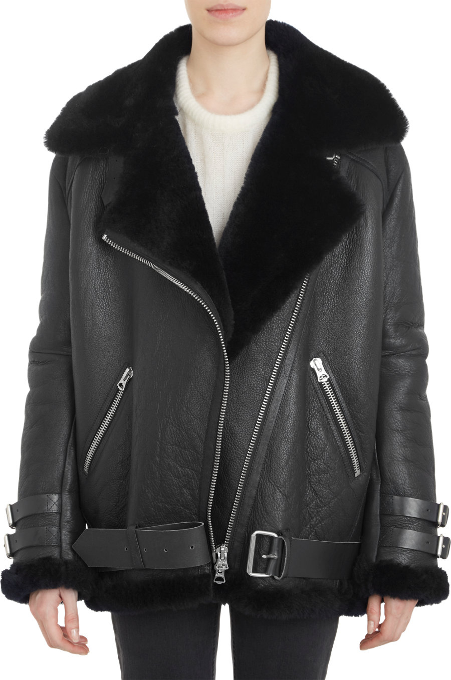 Womens Shearling Lined Black Leather Jacket