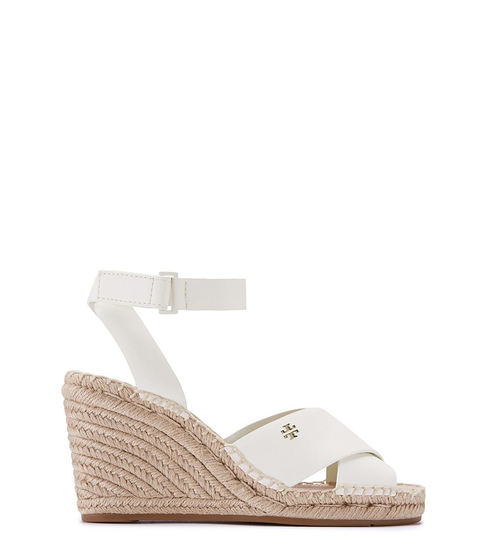 Lyst Tory Burch Bima Wedge Ivory Leather Espadrille In Brown