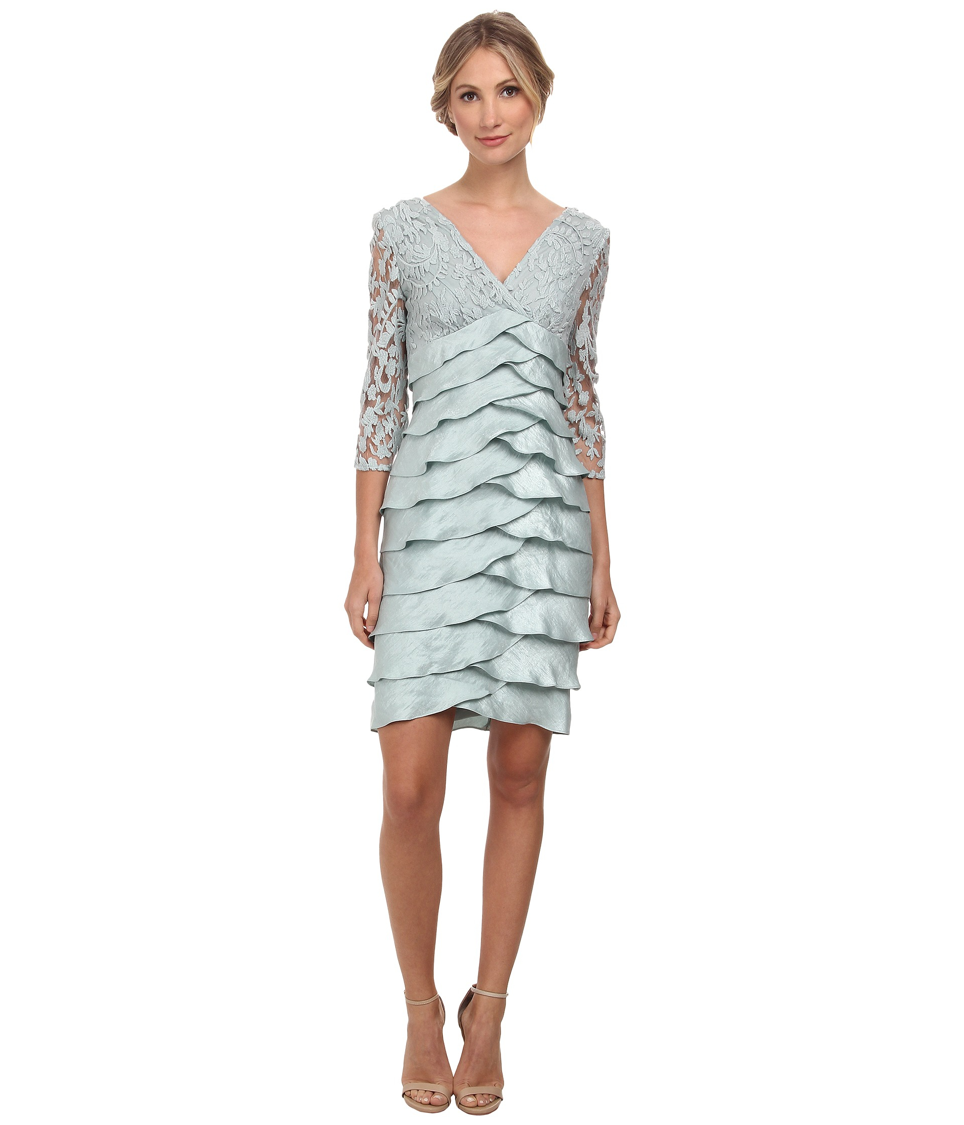 Lyst Adrianna Papell Shimmer Shutter Tuck Lace Surplus
