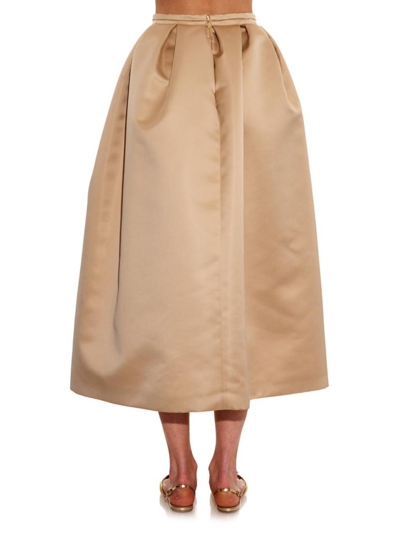6cd1cea0dd Rochas Pleated Full Duchess-Satin Skirt in Natural - Lyst