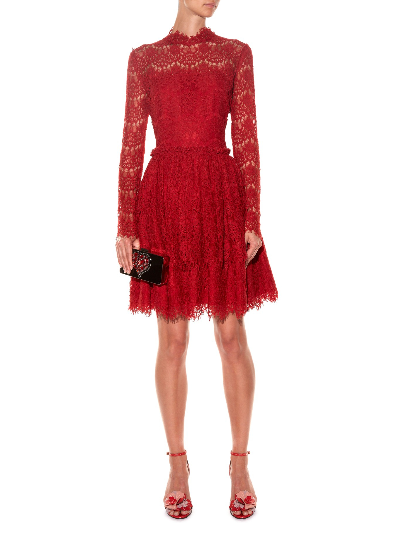 Lanvin Long-sleeved Lace Dress in Red | Lyst
