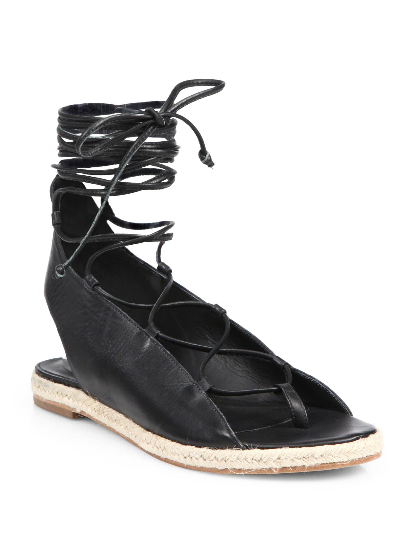 Lyst Tibi Camilo Leather Lace Up Espadrille Sandals In Black