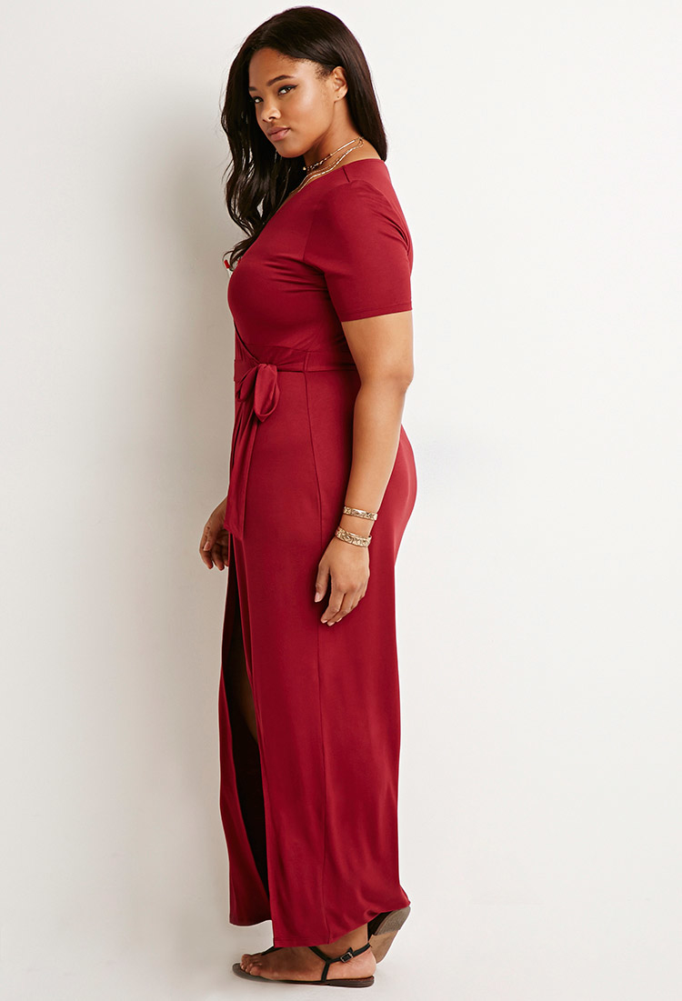 Forever 21 Plus Size Maxi Wrap Dress In Purple Lyst