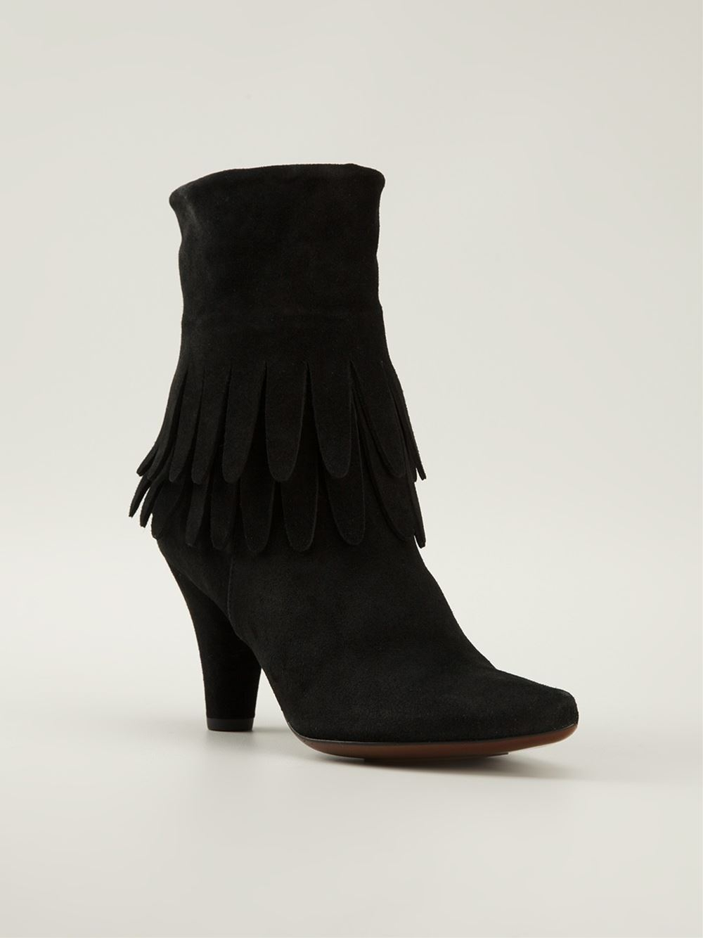chie mihara mahina fringe ankle boots in black lyst