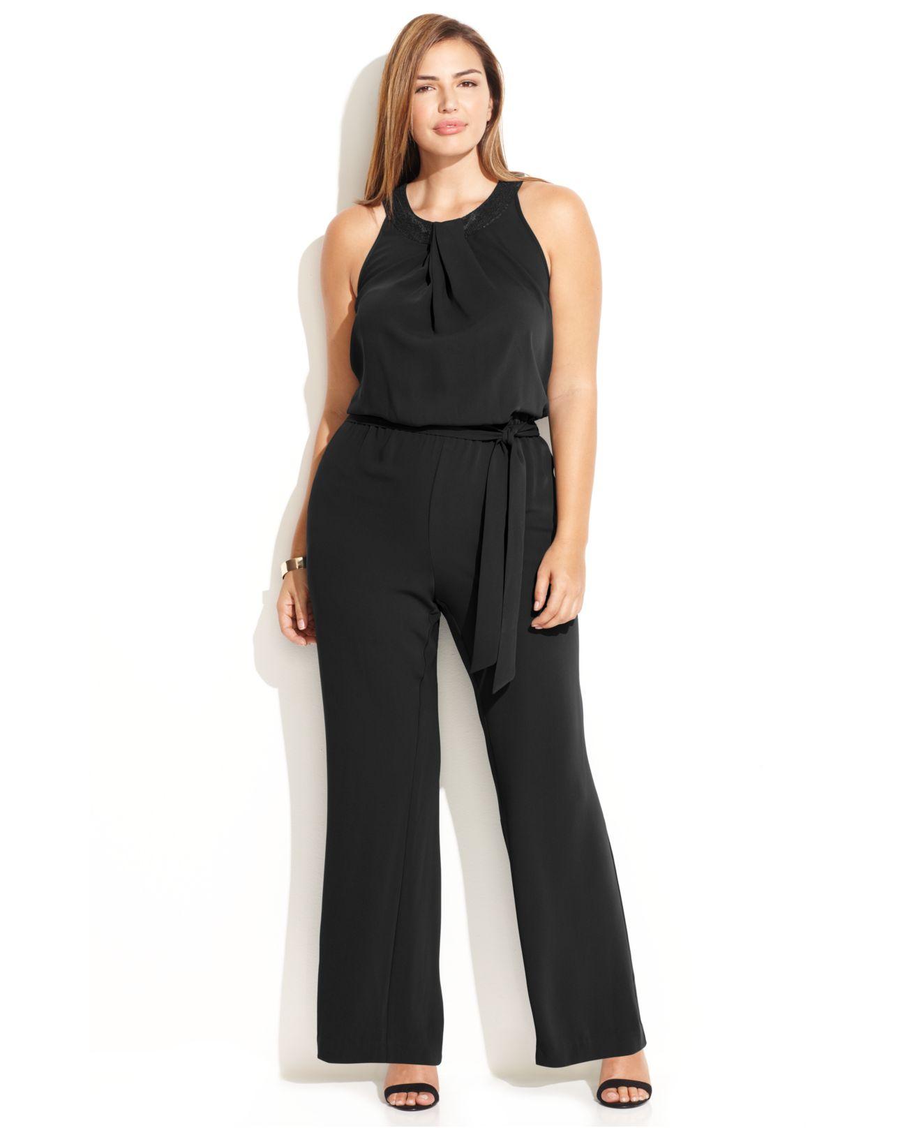 Lyst Calvin Klein Plus Size Sequin Trim Halter Neck Jumpsuit In Black