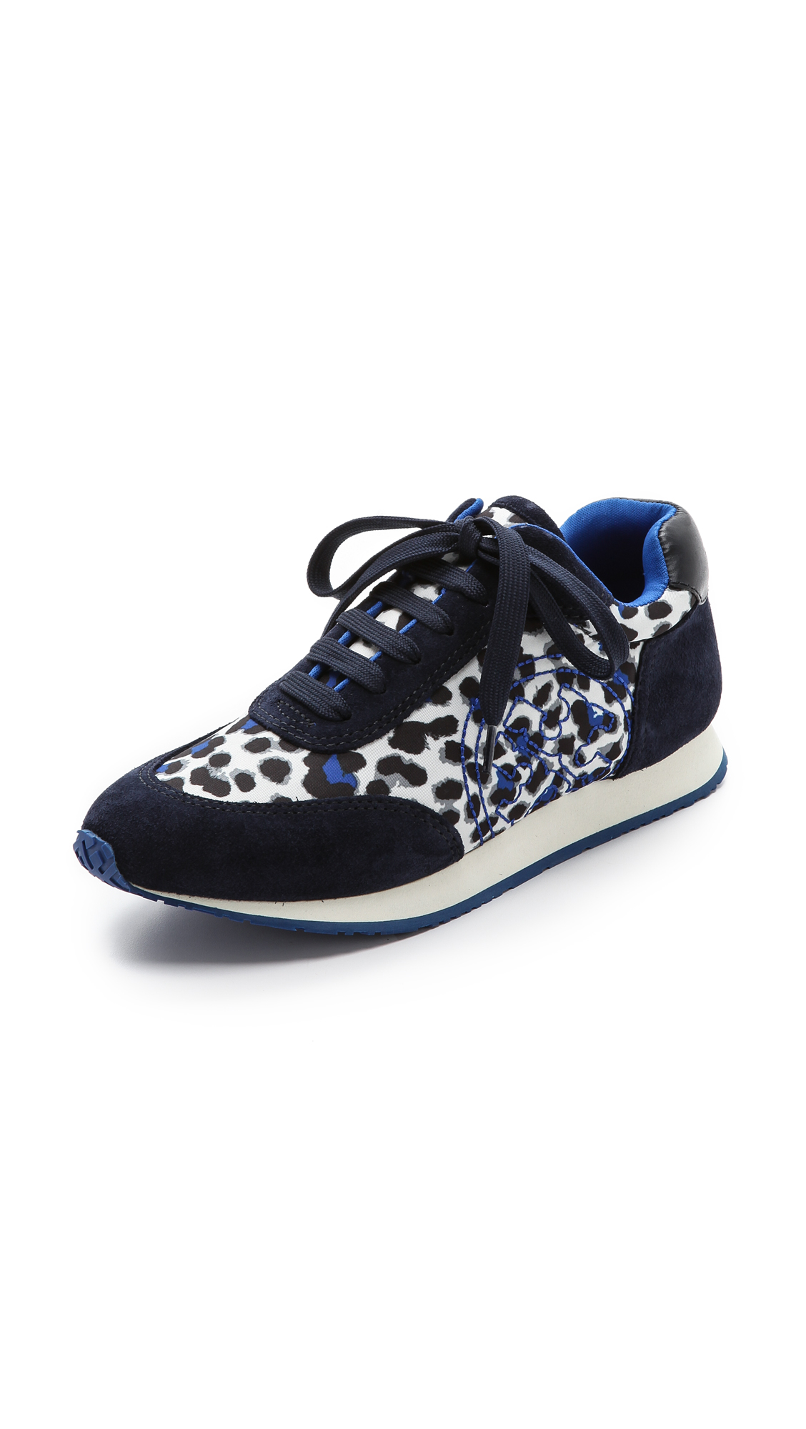 tory burch 39 delancy 39 animal print suede sneakers in blue lyst. Black Bedroom Furniture Sets. Home Design Ideas