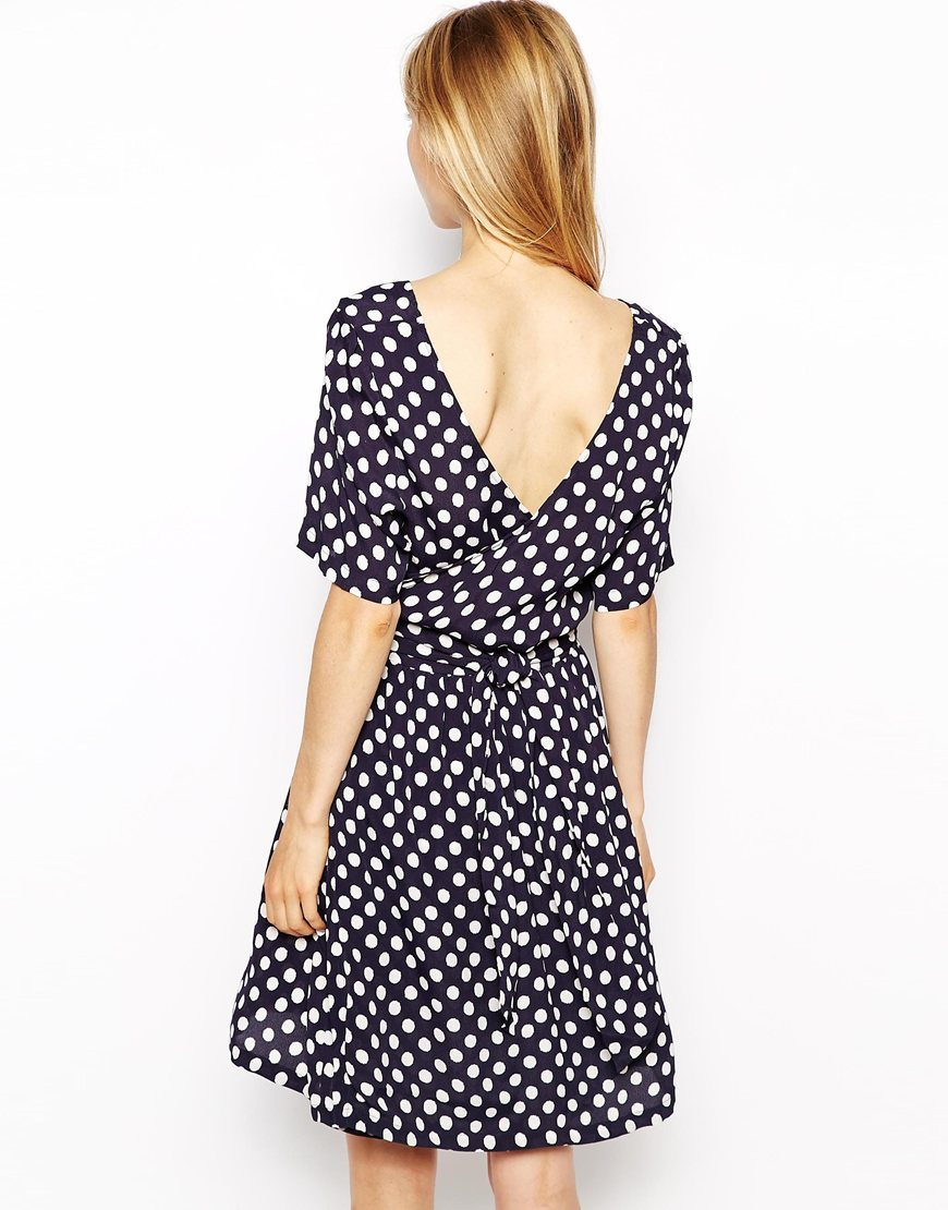 66aa876a Ganni Polka Dot Tulip Dress in Blue - Lyst