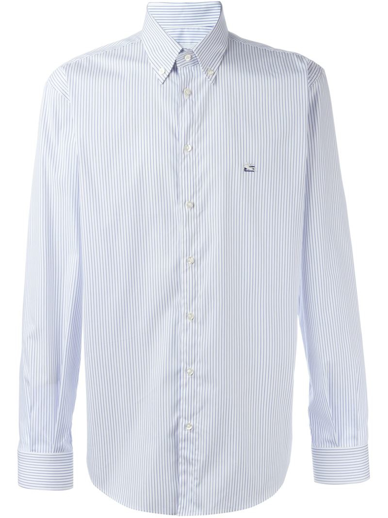 Etro striped shirt in blue for men lyst for Blue striped shirt mens