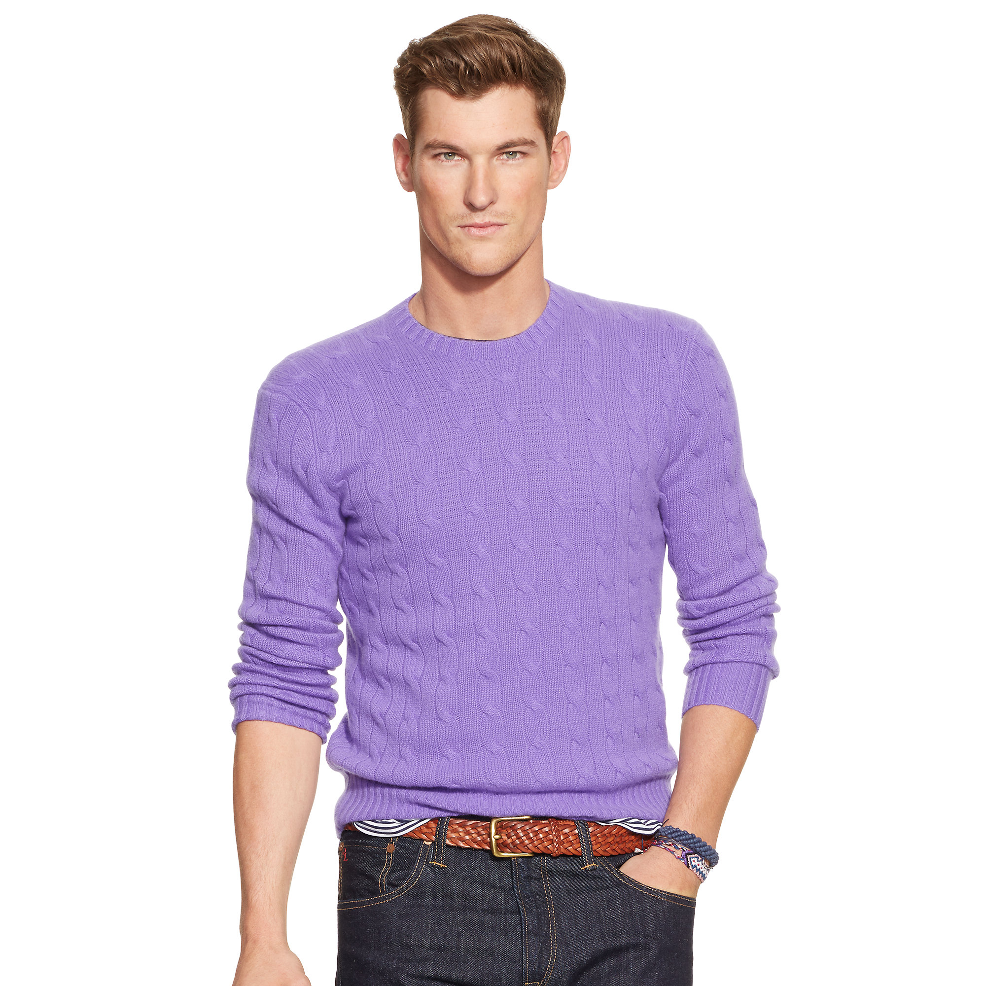 Polo ralph lauren Cable-knit Cashmere Sweater in Purple for Men | Lyst