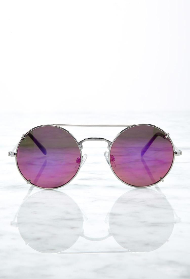 lyst forever 21 double bridge round sunglasses in metallic. Black Bedroom Furniture Sets. Home Design Ideas