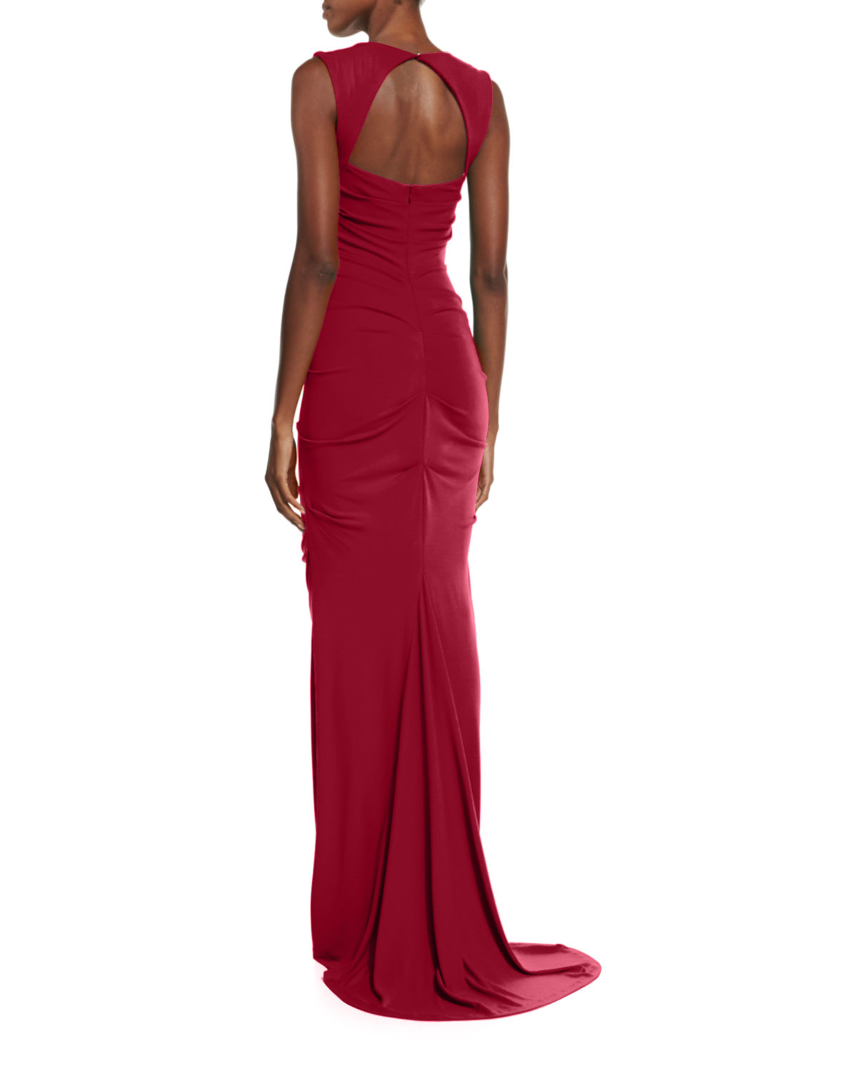 Lyst - Nicole Miller Artelier Sleeveless Ruched Jersey Gown in Red