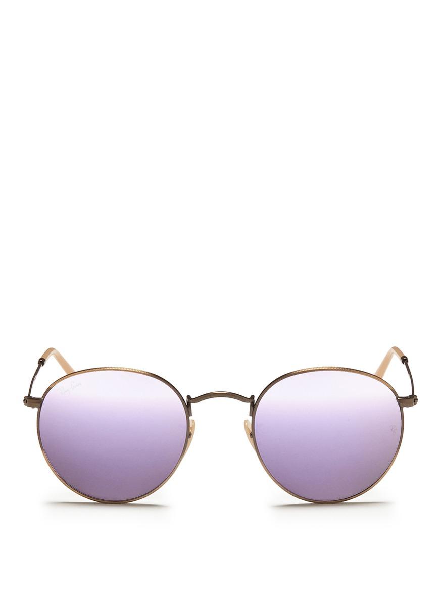 0fbaa4cd07 Lyst - Ray-Ban Round Metal Mirror Sunglasses in Purple