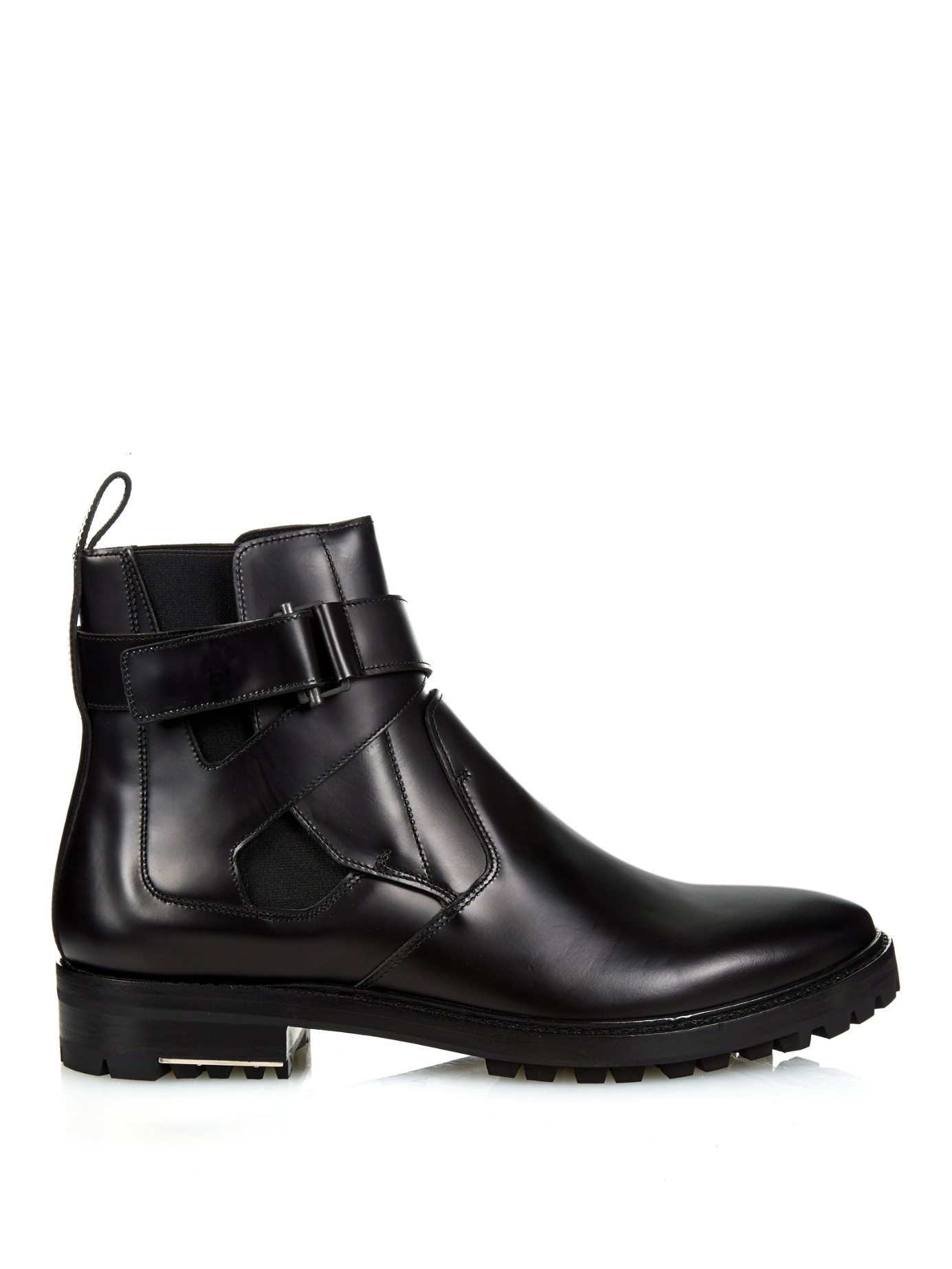 Lanvin Ankle Strap Leather Chelsea Boots In Black For Men