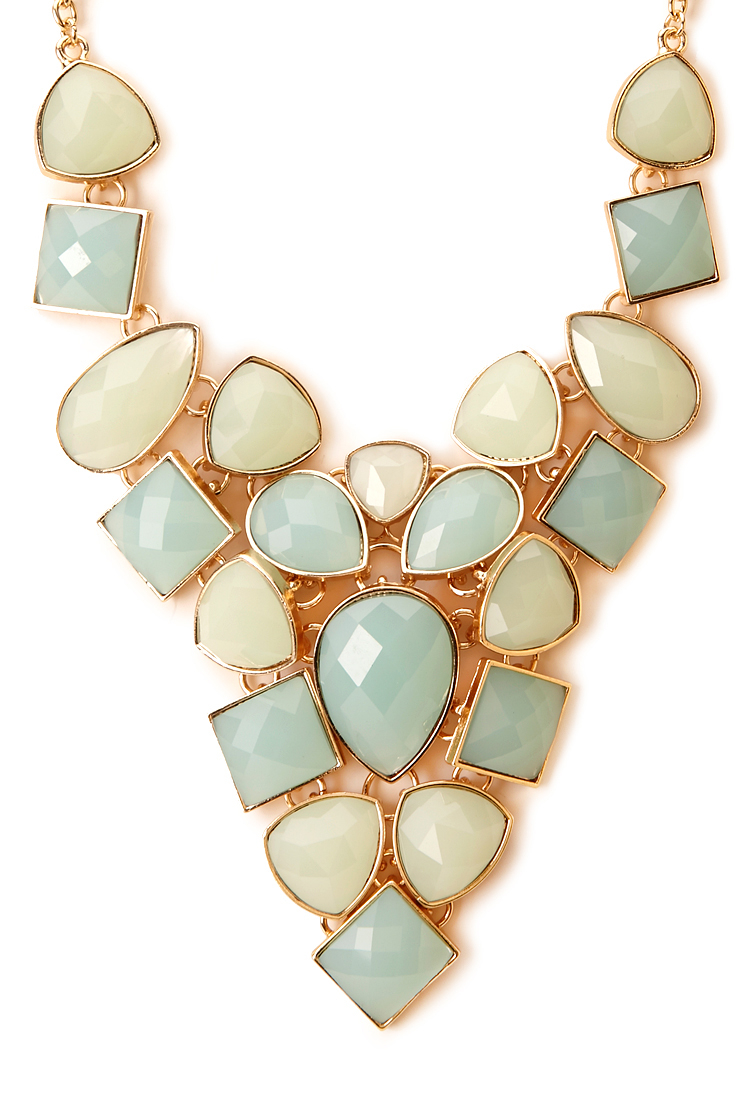 forever 21 opulent faux gemstone necklace in pink lyst