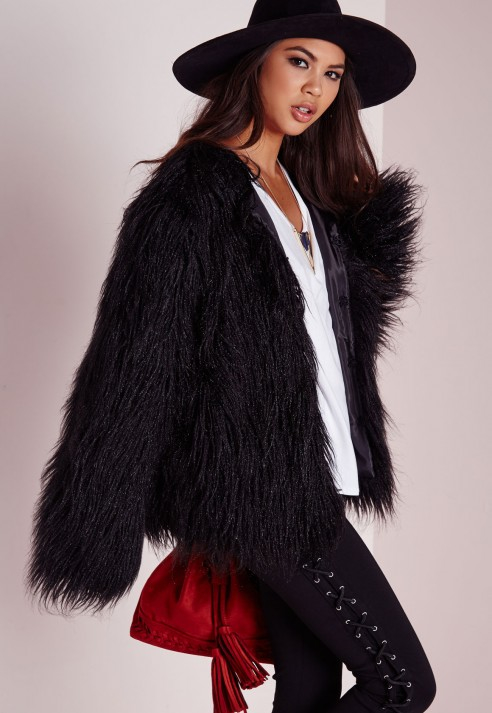 missguided faux fur coat in black lyst