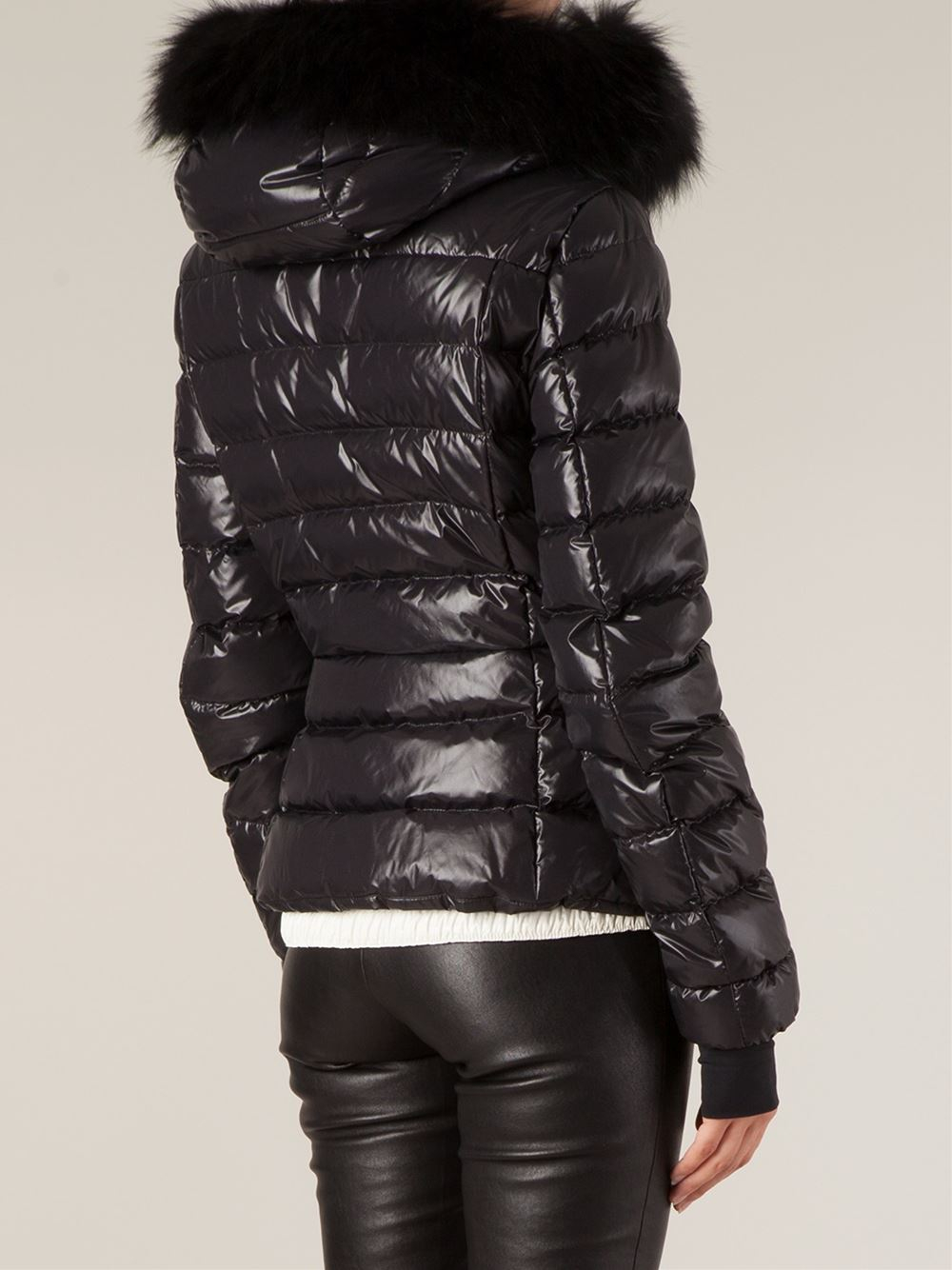 Moncler grenoble Fur Hood Padded Jacket in Black | Lyst
