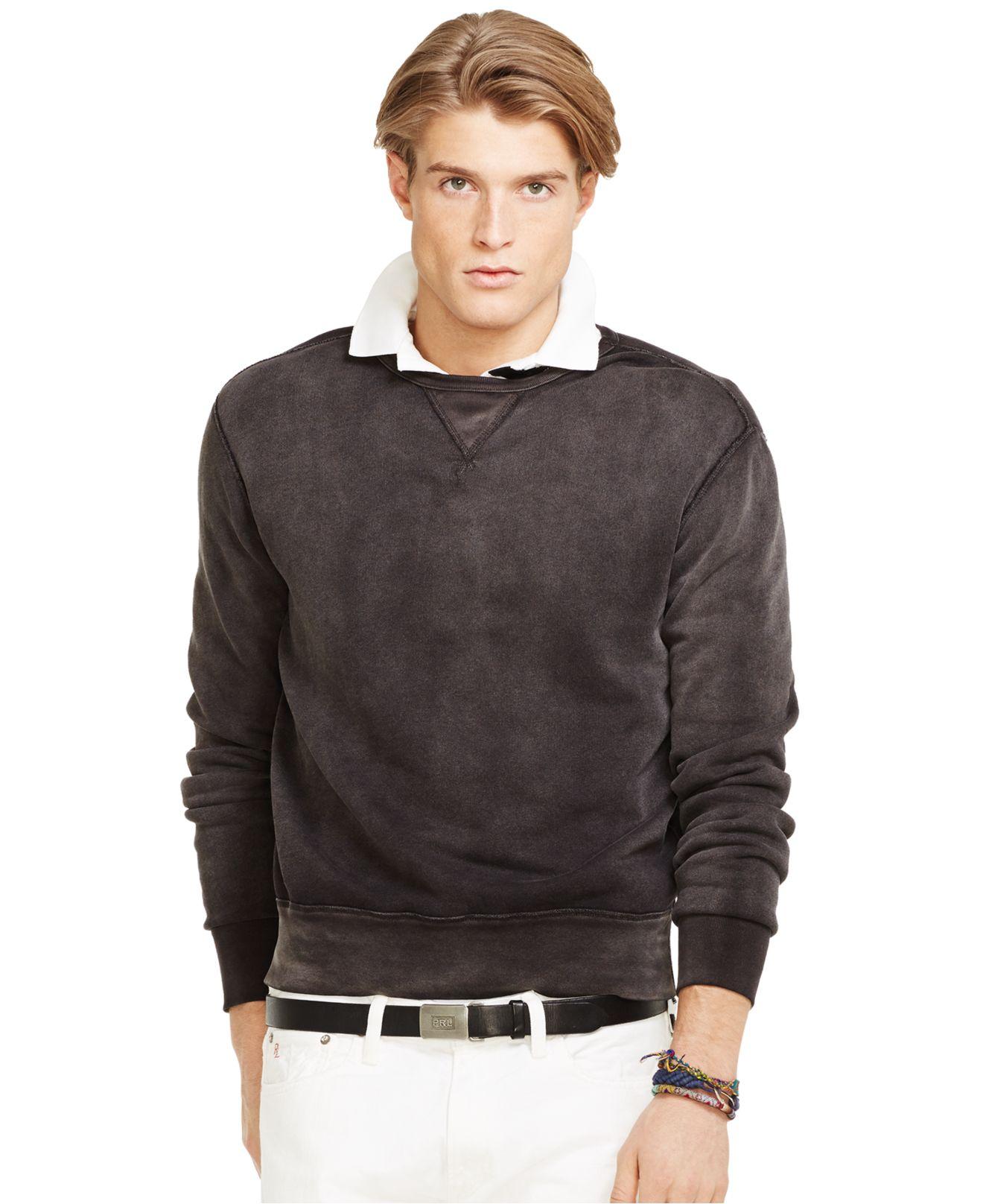 polo ralph lauren fleece crewneck pullover in brown for men polo. Black Bedroom Furniture Sets. Home Design Ideas