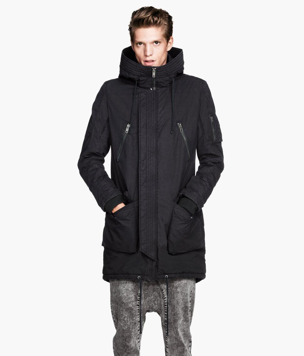 H&m Padded Parka in Black for Men | Lyst