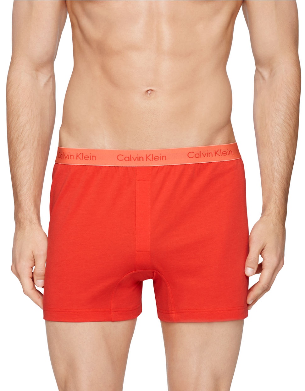 calvin klein slim fit knit boxer shorts in red for men lyst. Black Bedroom Furniture Sets. Home Design Ideas