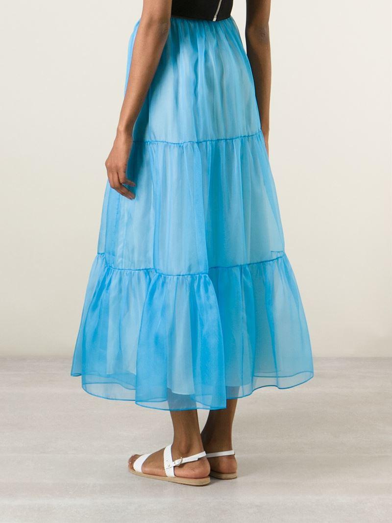 arthur arbesser organza layered skirt in blue lyst