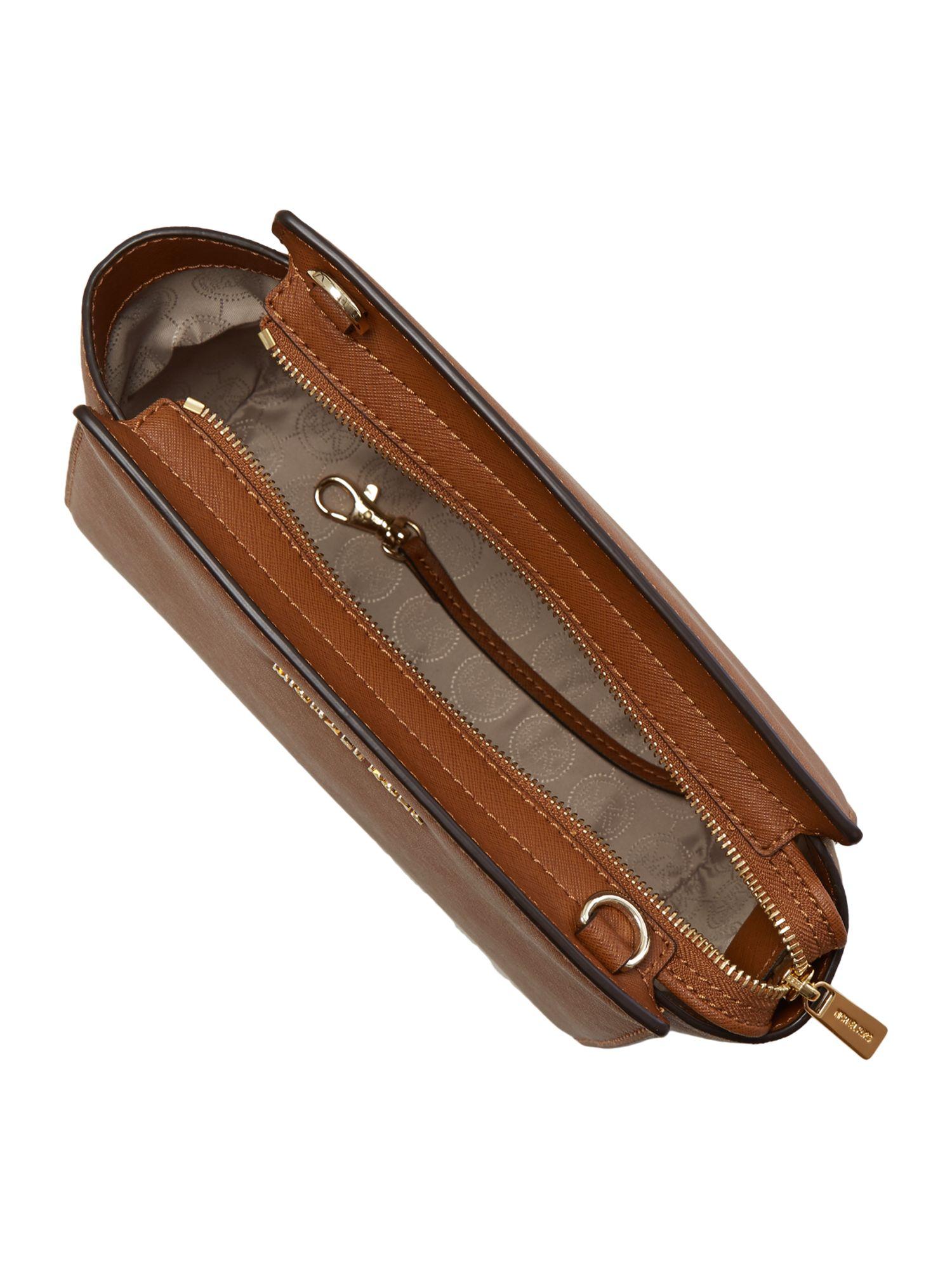 Michael Kors Selma Tan Cross Body Bag in Brown