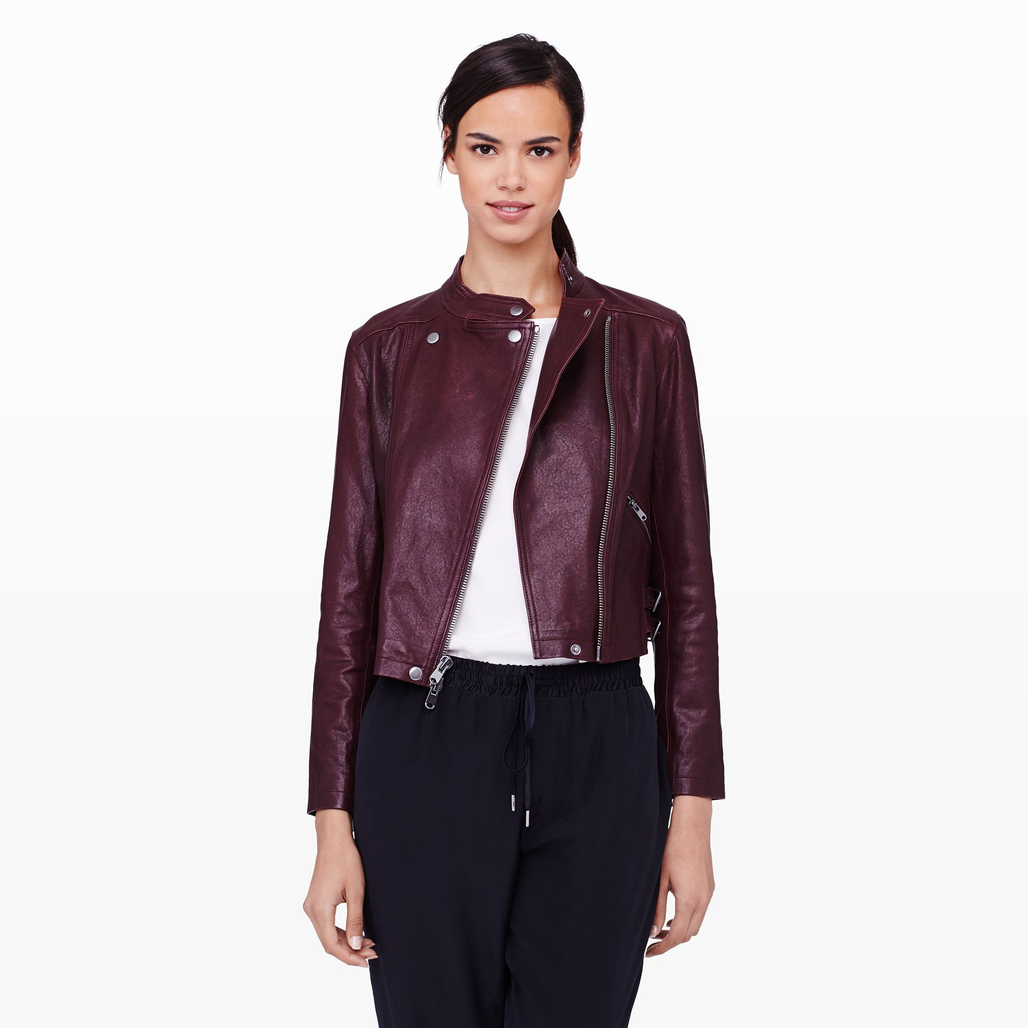 Club monaco Jiro Leather Jacket in Red
