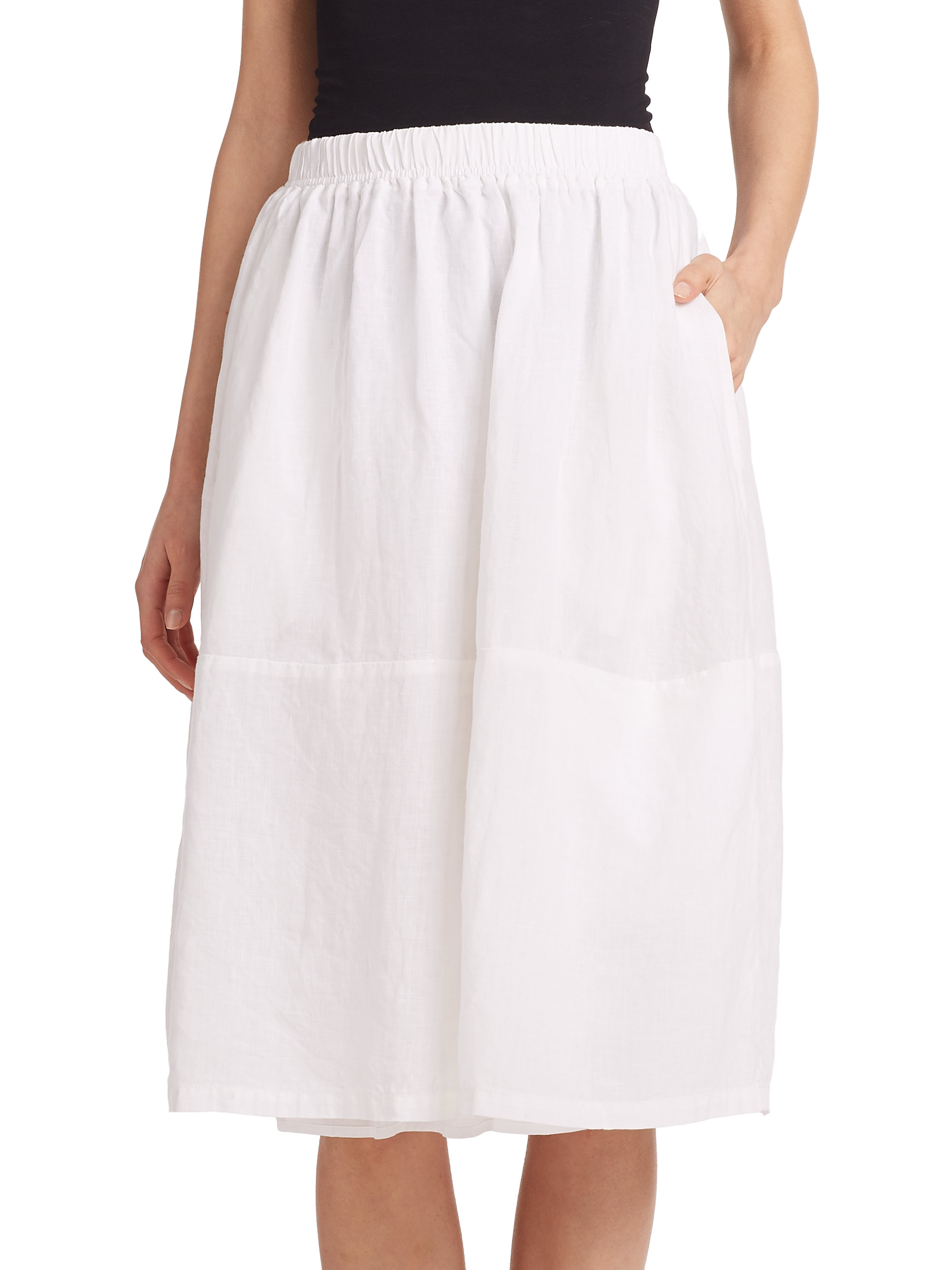 Eileen Fisher Linen Skirt In White Lyst