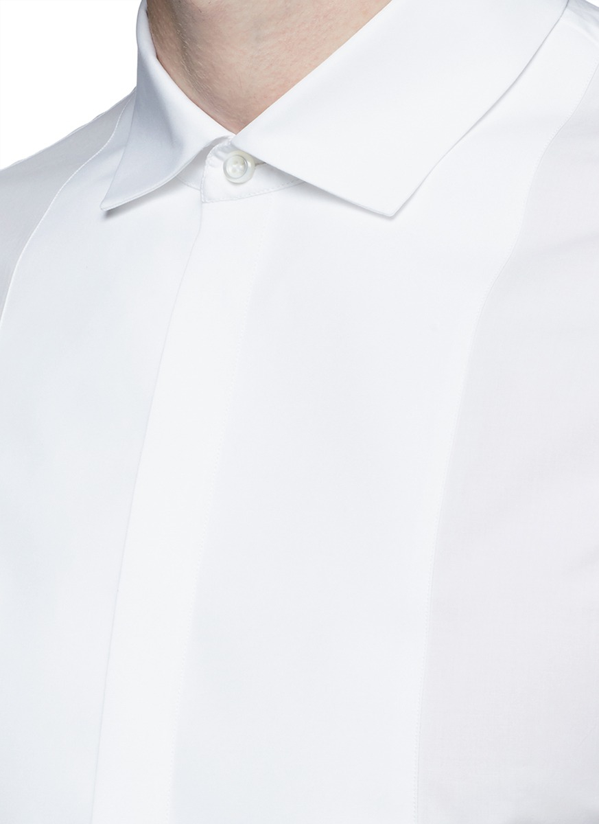 Lyst dsquared spread collar tuxedo shirt in white for men for Men s spread collar shirts